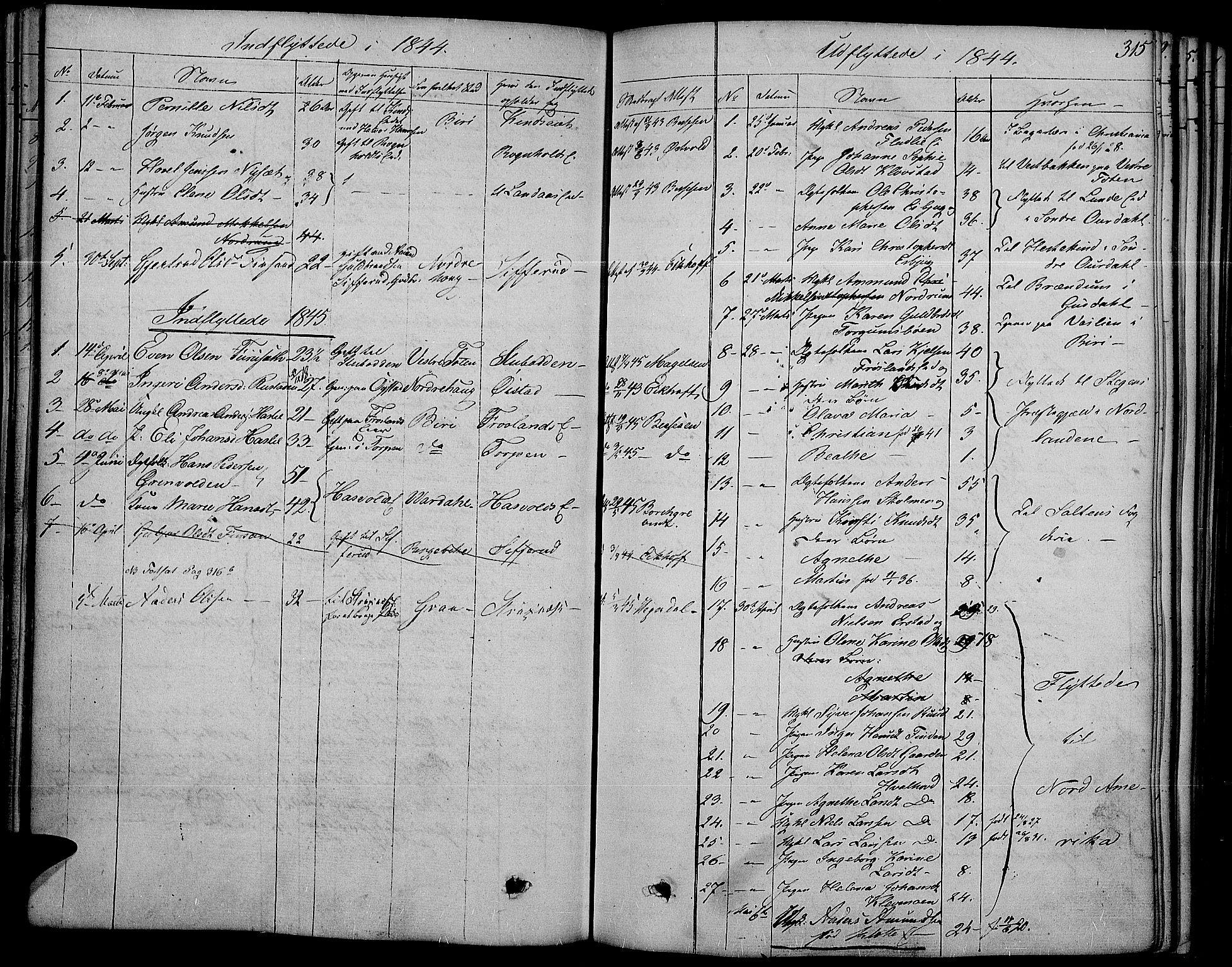 SAH, Land prestekontor, Ministerialbok nr. 8, 1830-1846, s. 315