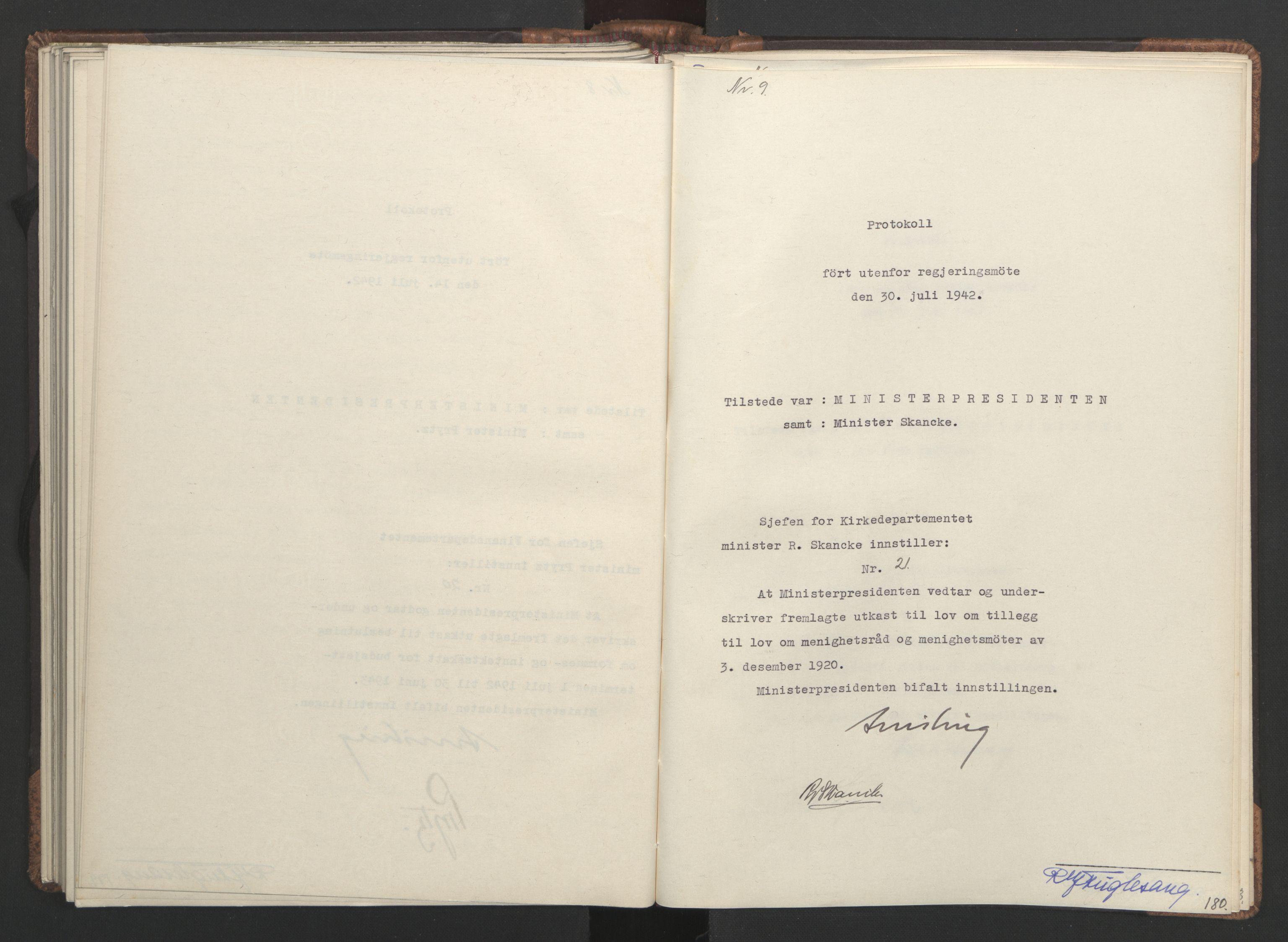 RA, NS-administrasjonen 1940-1945 (Statsrådsekretariatet, de kommisariske statsråder mm), D/Da/L0001: Beslutninger og tillegg (1-952 og 1-32), 1942, s. 179b-180a