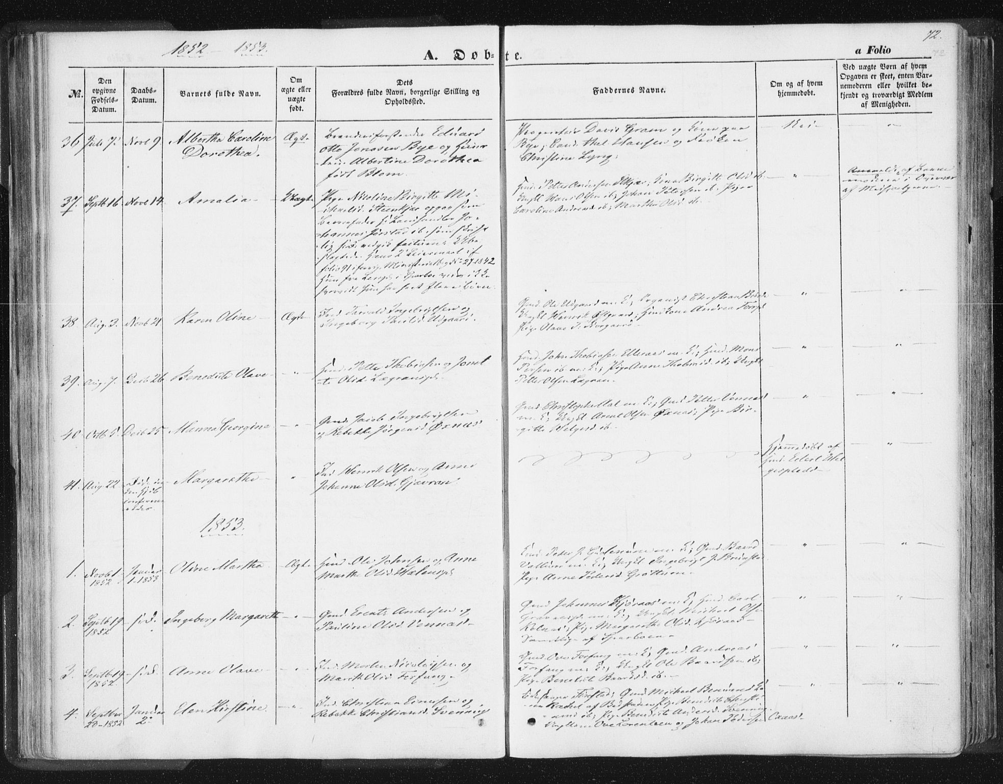 SAT, Ministerialprotokoller, klokkerbøker og fødselsregistre - Nord-Trøndelag, 746/L0446: Ministerialbok nr. 746A05, 1846-1859, s. 72