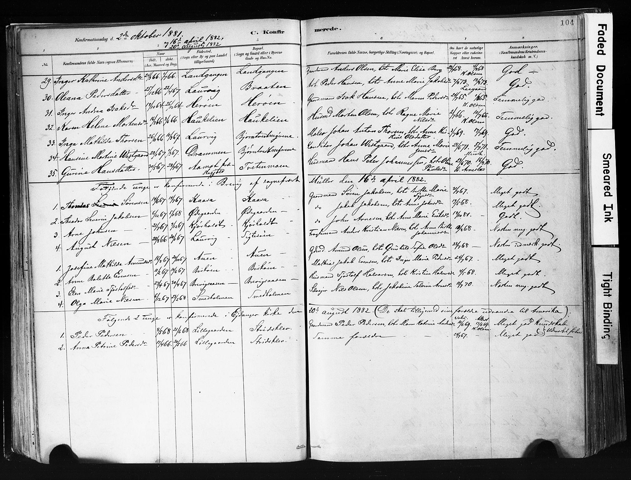 SAKO, Eidanger kirkebøker, F/Fa/L0012: Ministerialbok nr. 12, 1879-1900, s. 104