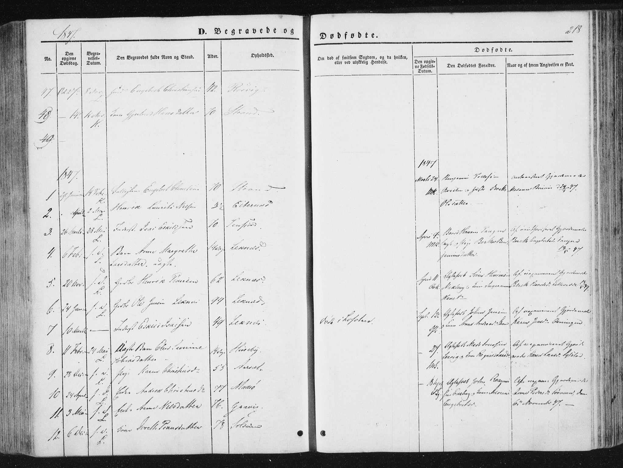 SAT, Ministerialprotokoller, klokkerbøker og fødselsregistre - Nord-Trøndelag, 780/L0640: Ministerialbok nr. 780A05, 1845-1856, s. 218