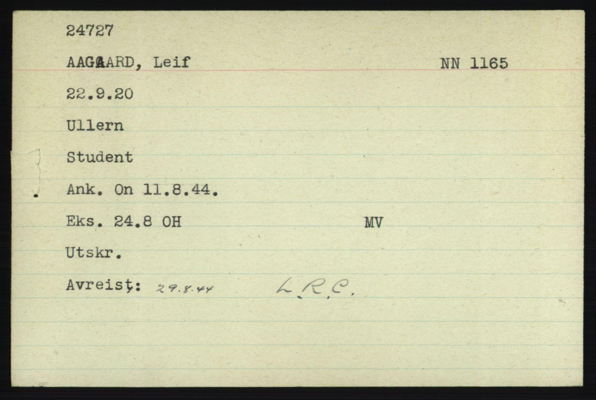NHM, Forsvarets Overkommando. 2. kontor. Arkiv 8.1. Mottakersentralen FDE og FO.II, P/Pa/L0001: Kortsamling, 1940-1945, s. 1