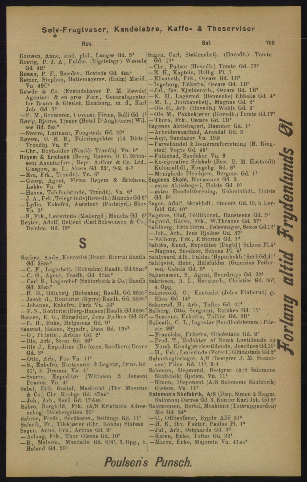 RA, Kristiania adressebok (publikasjon)*, 1905, s. 753