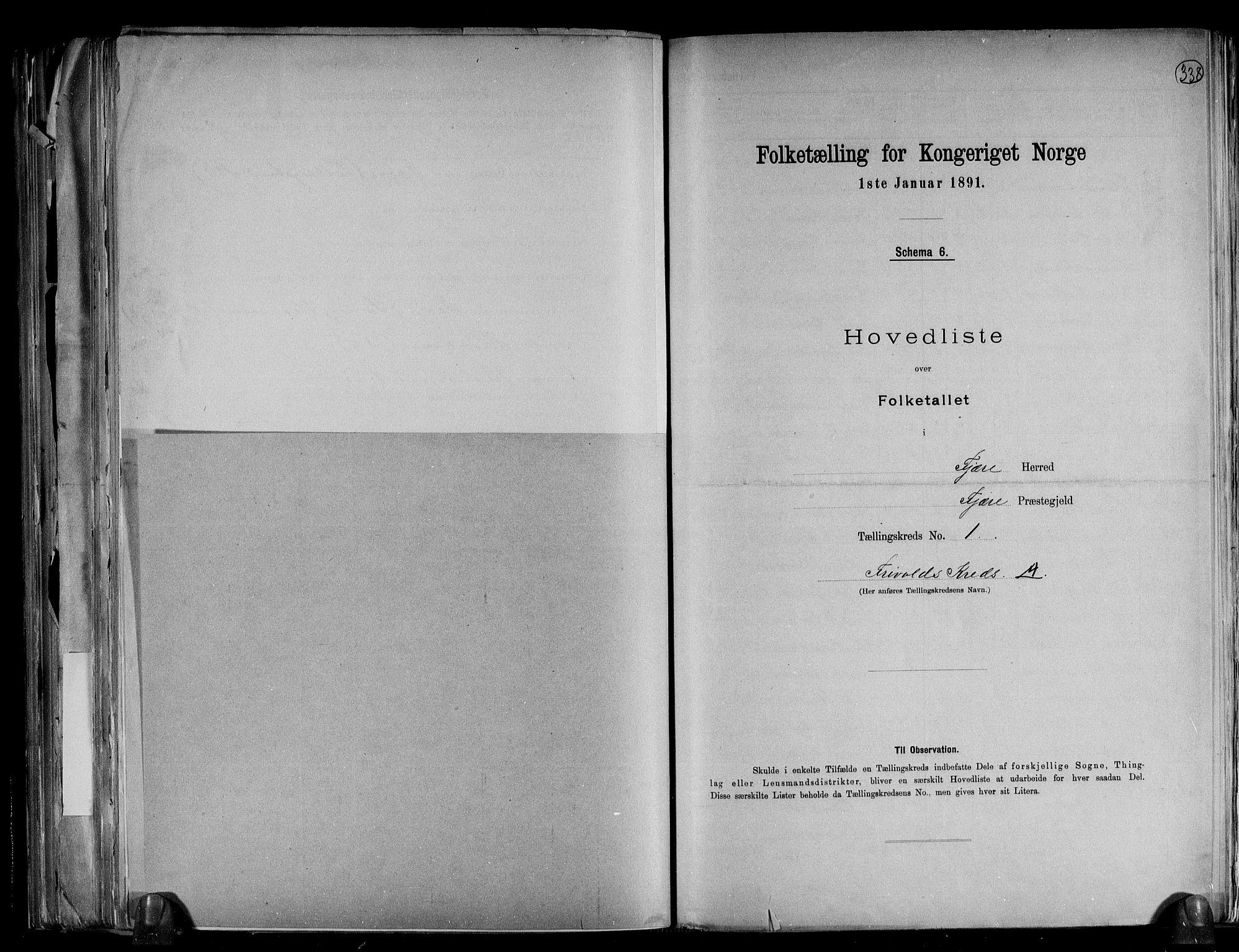 RA, Folketelling 1891 for 0923 Fjære herred, 1891, s. 5