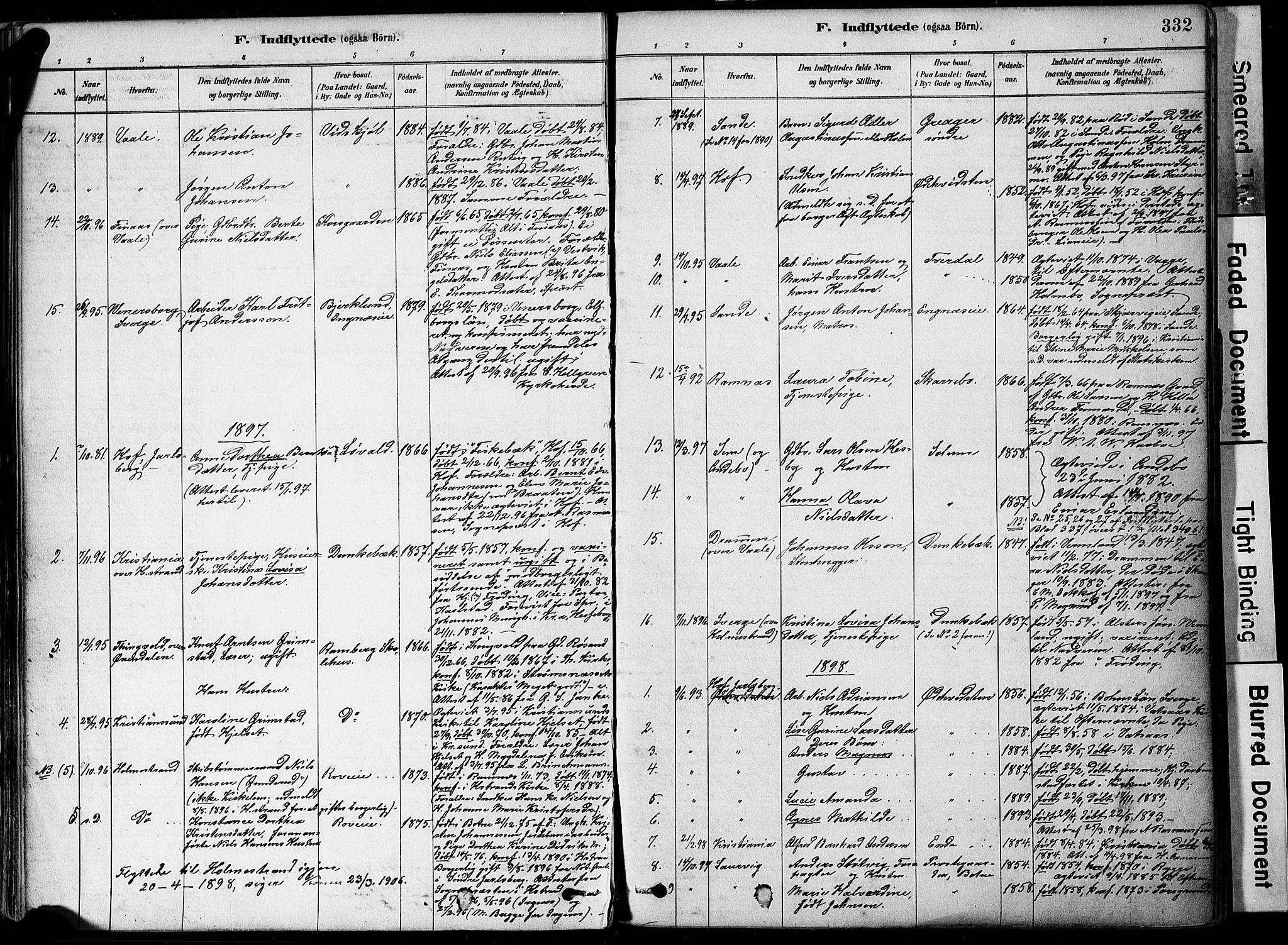SAKO, Botne kirkebøker, F/Fa/L0007: Ministerialbok nr. I 7, 1878-1910, s. 332