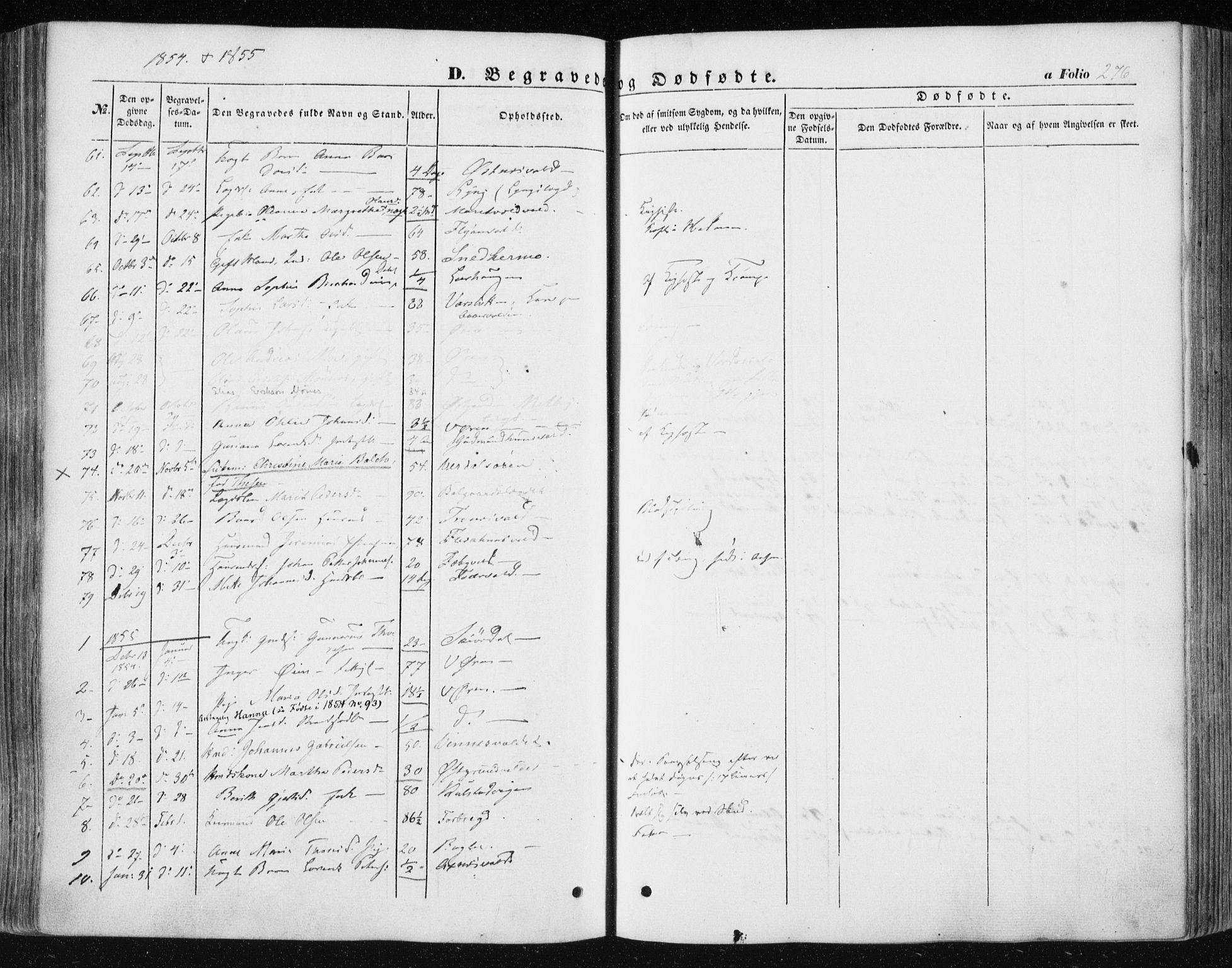 SAT, Ministerialprotokoller, klokkerbøker og fødselsregistre - Nord-Trøndelag, 723/L0240: Ministerialbok nr. 723A09, 1852-1860, s. 276