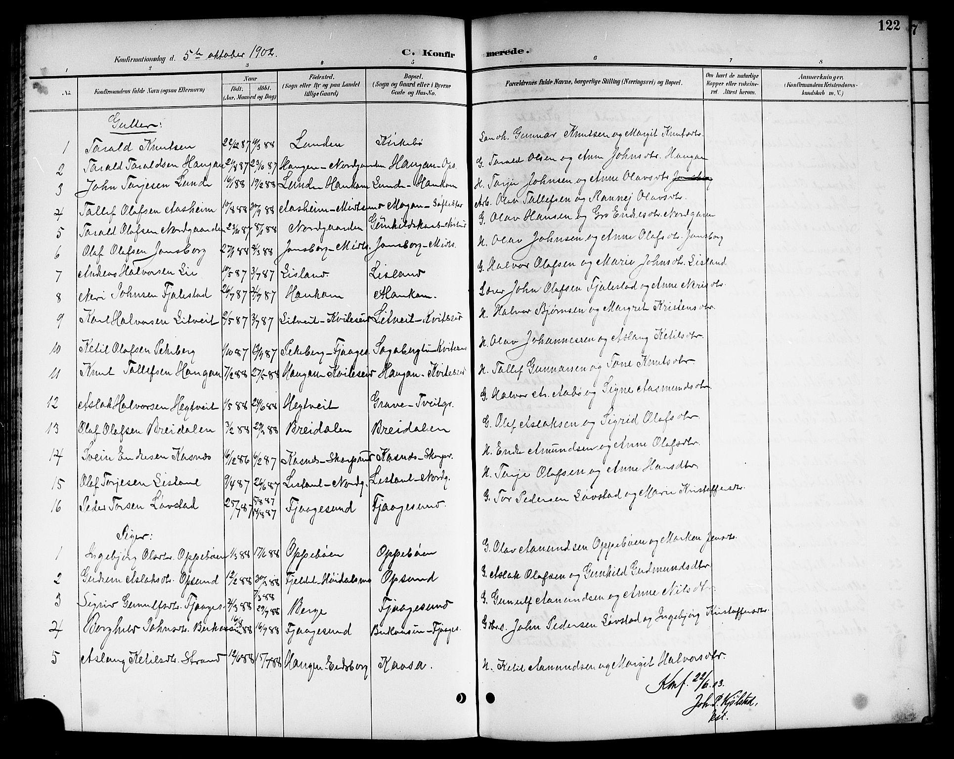 SAKO, Kviteseid kirkebøker, G/Ga/L0002: Klokkerbok nr. I 2, 1893-1918, s. 122