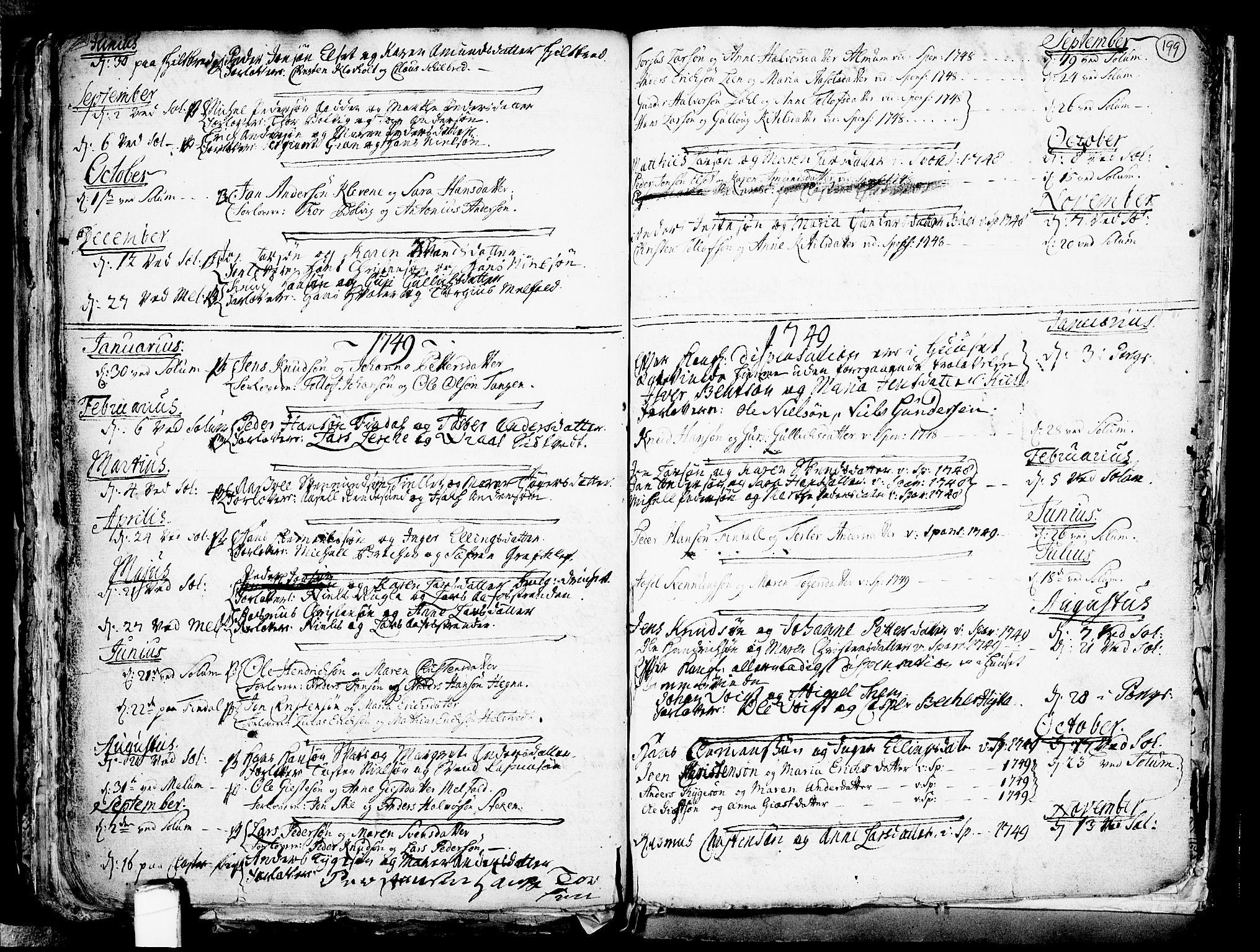 SAKO, Solum kirkebøker, F/Fa/L0002: Ministerialbok nr. I 2, 1713-1761, s. 199