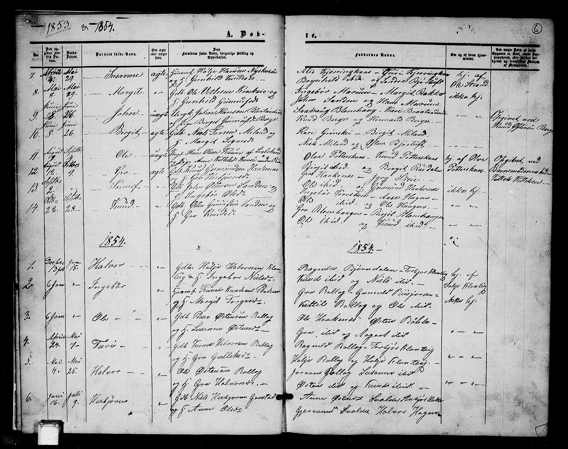 SAKO, Tinn kirkebøker, G/Gb/L0002: Klokkerbok nr. II 2, 1851-1886, s. 6