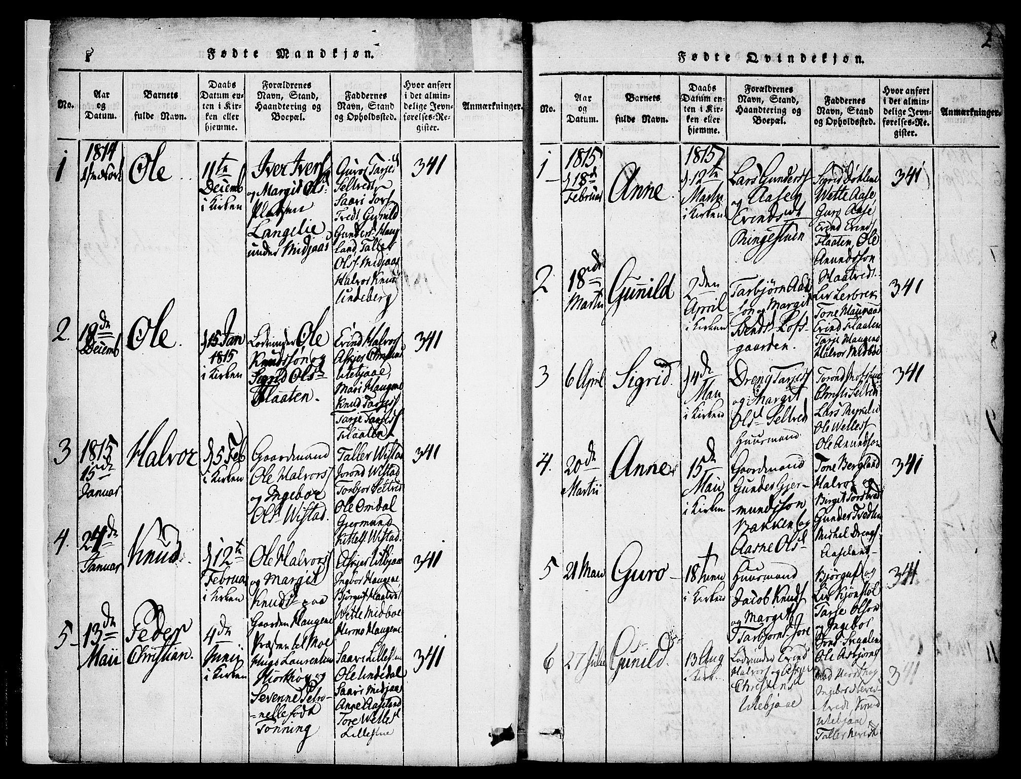 SAKO, Mo kirkebøker, F/Fa/L0004: Ministerialbok nr. I 4, 1814-1844, s. 2