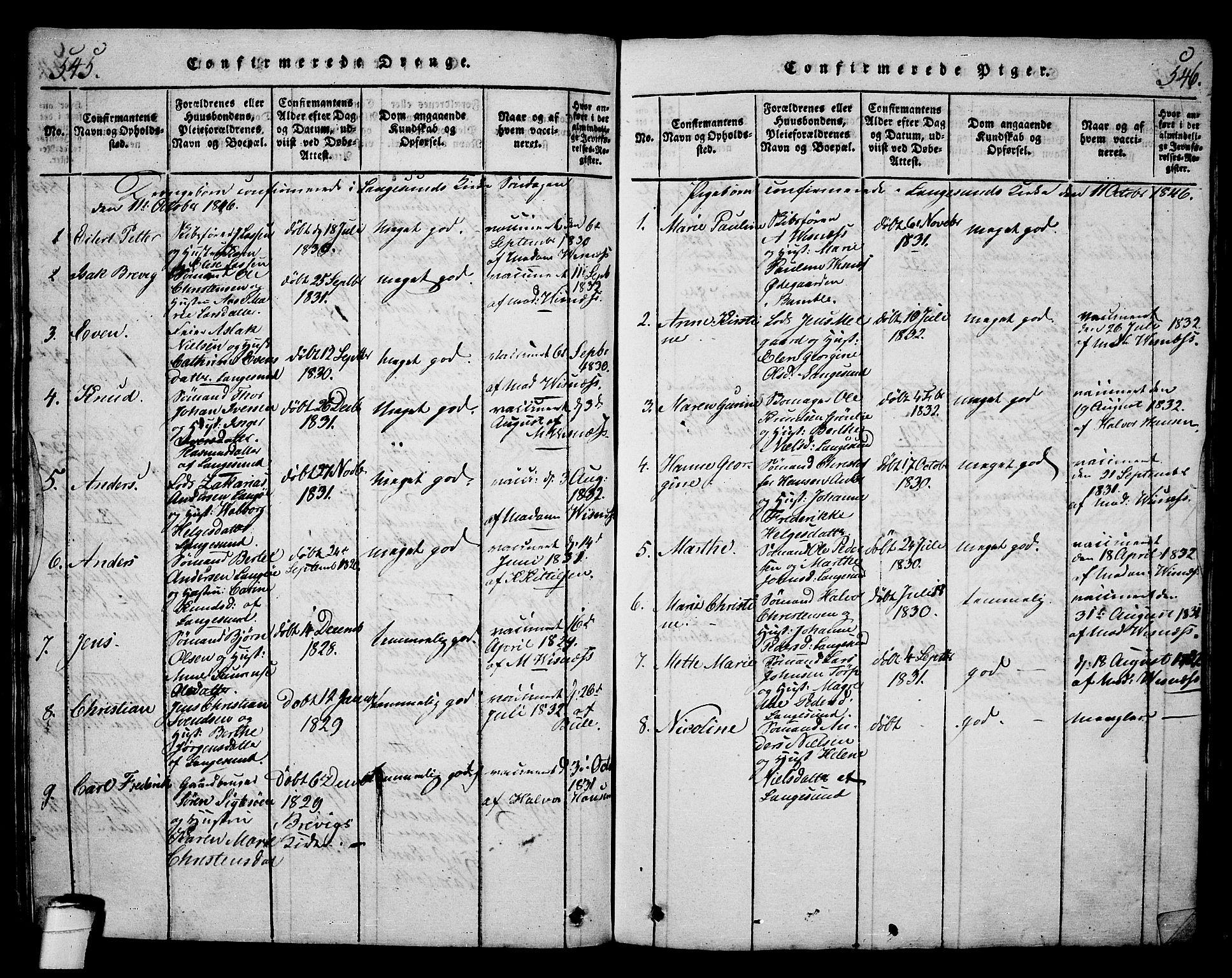SAKO, Langesund kirkebøker, G/Ga/L0003: Klokkerbok nr. 3, 1815-1858, s. 545-546