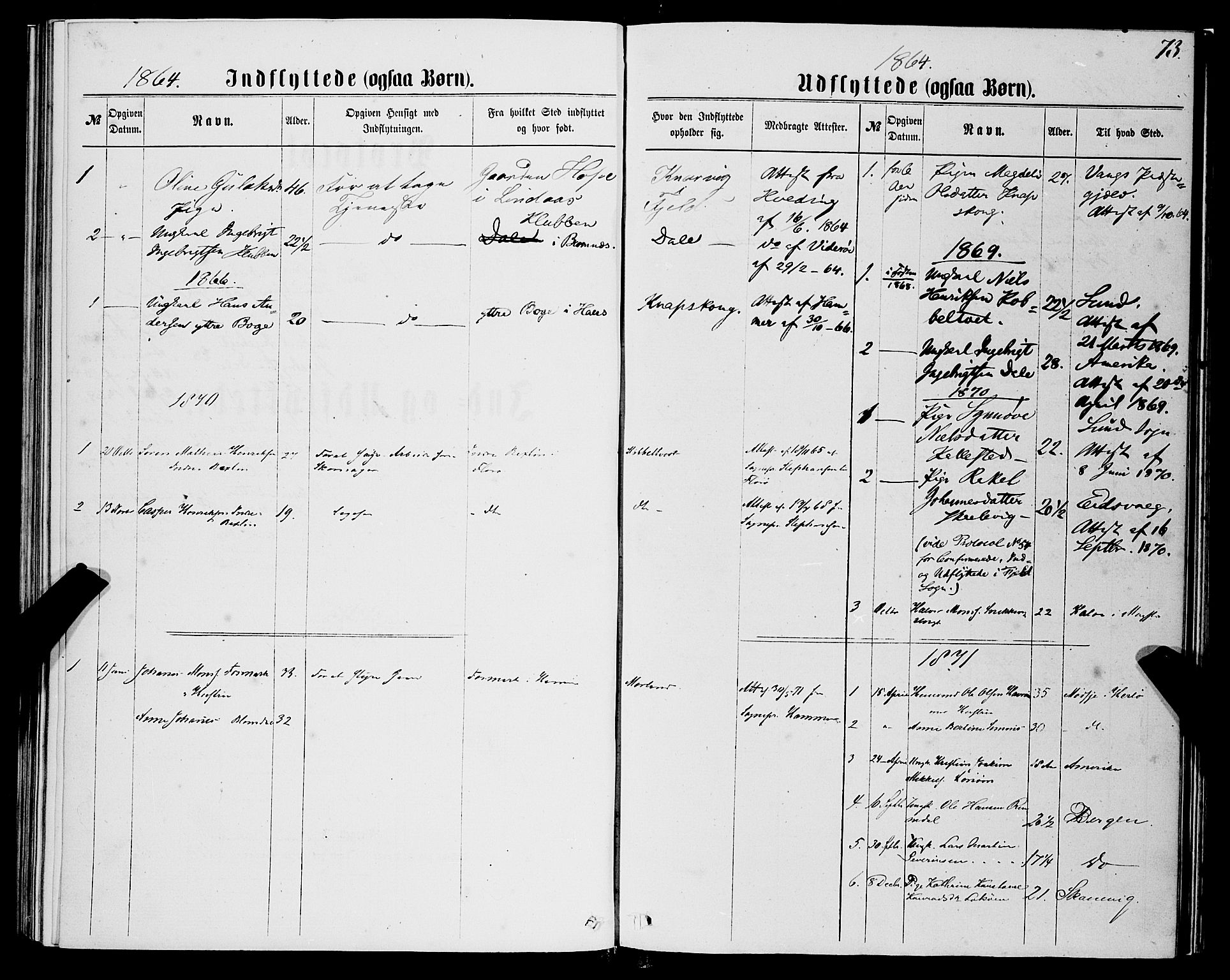 SAB, Fjell sokneprestembete, H/Haa: Ministerialbok nr. A 5, 1864-1877, s. 73