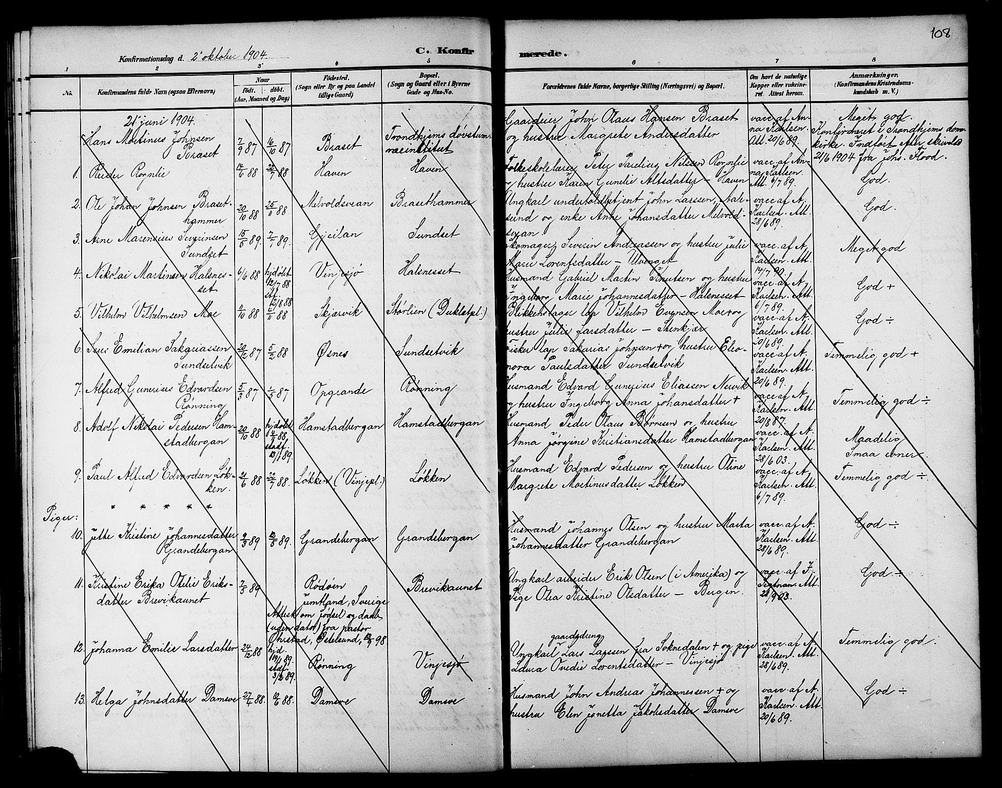 SAT, Ministerialprotokoller, klokkerbøker og fødselsregistre - Nord-Trøndelag, 733/L0327: Klokkerbok nr. 733C02, 1888-1918, s. 108