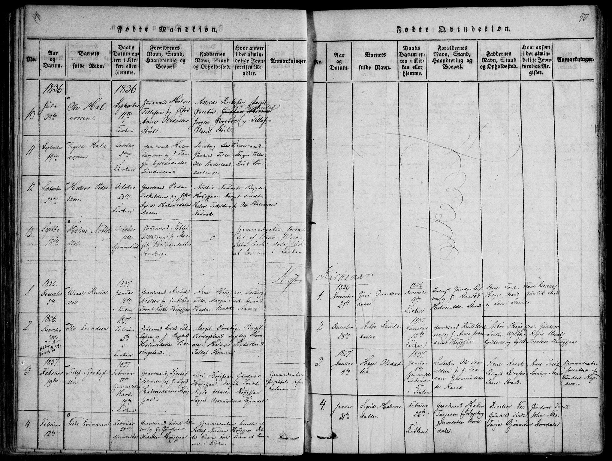 SAKO, Nissedal kirkebøker, F/Fb/L0001: Ministerialbok nr. II 1, 1814-1845, s. 50