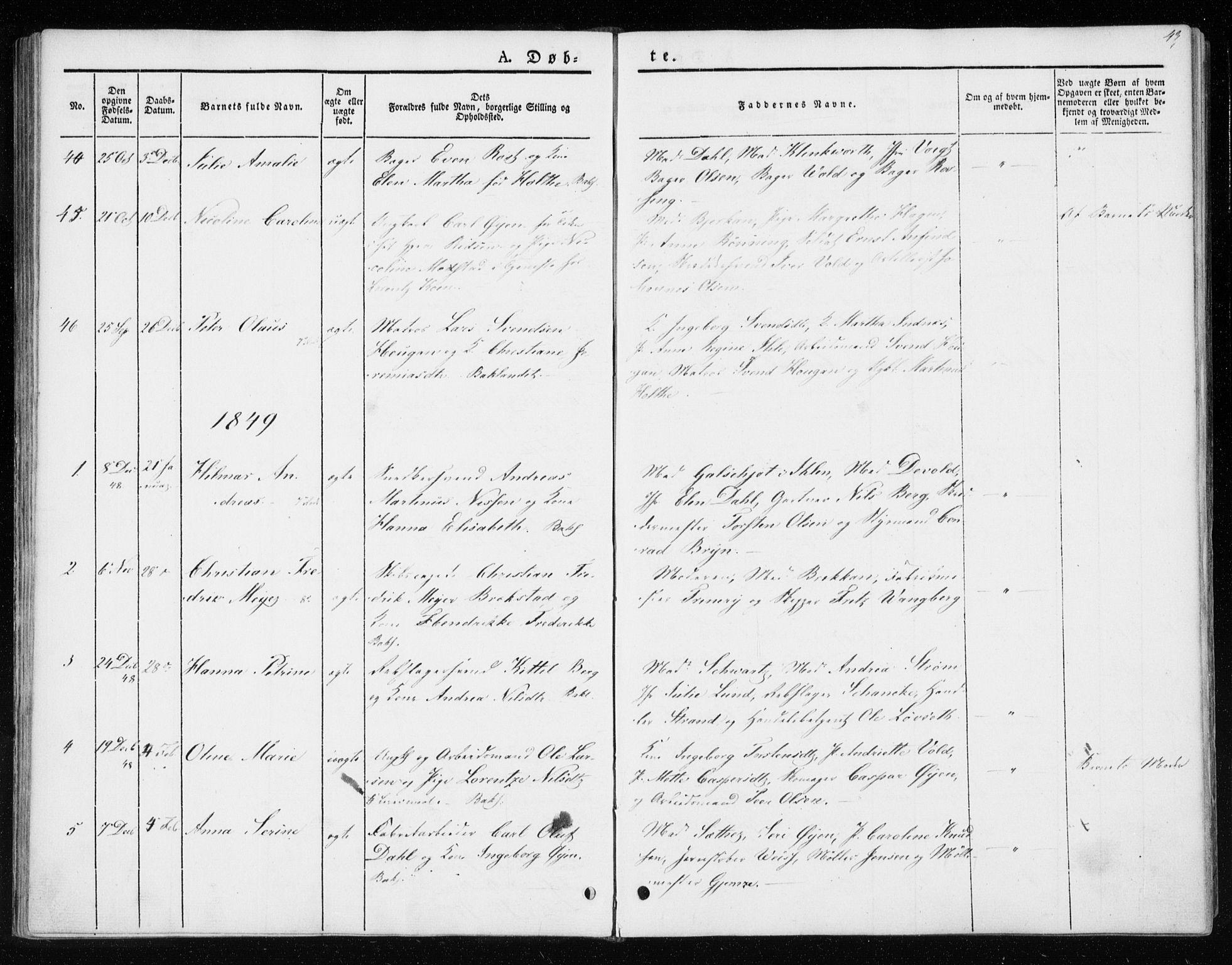 SAT, Ministerialprotokoller, klokkerbøker og fødselsregistre - Sør-Trøndelag, 604/L0183: Ministerialbok nr. 604A04, 1841-1850, s. 43