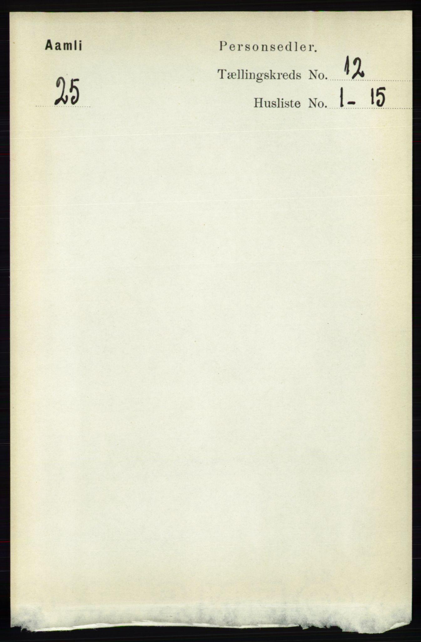 RA, Folketelling 1891 for 0929 Åmli herred, 1891, s. 2035