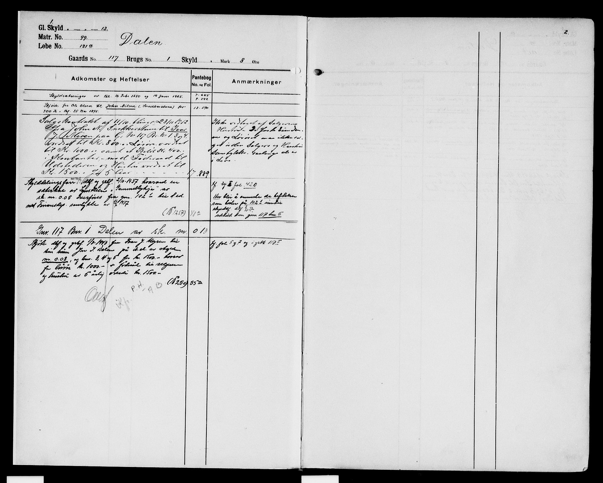 SAH, Nord-Gudbrandsdal tingrett, H/Ha/Had/L0008: Panteregister nr. 8, 1908-1950, s. 1-2