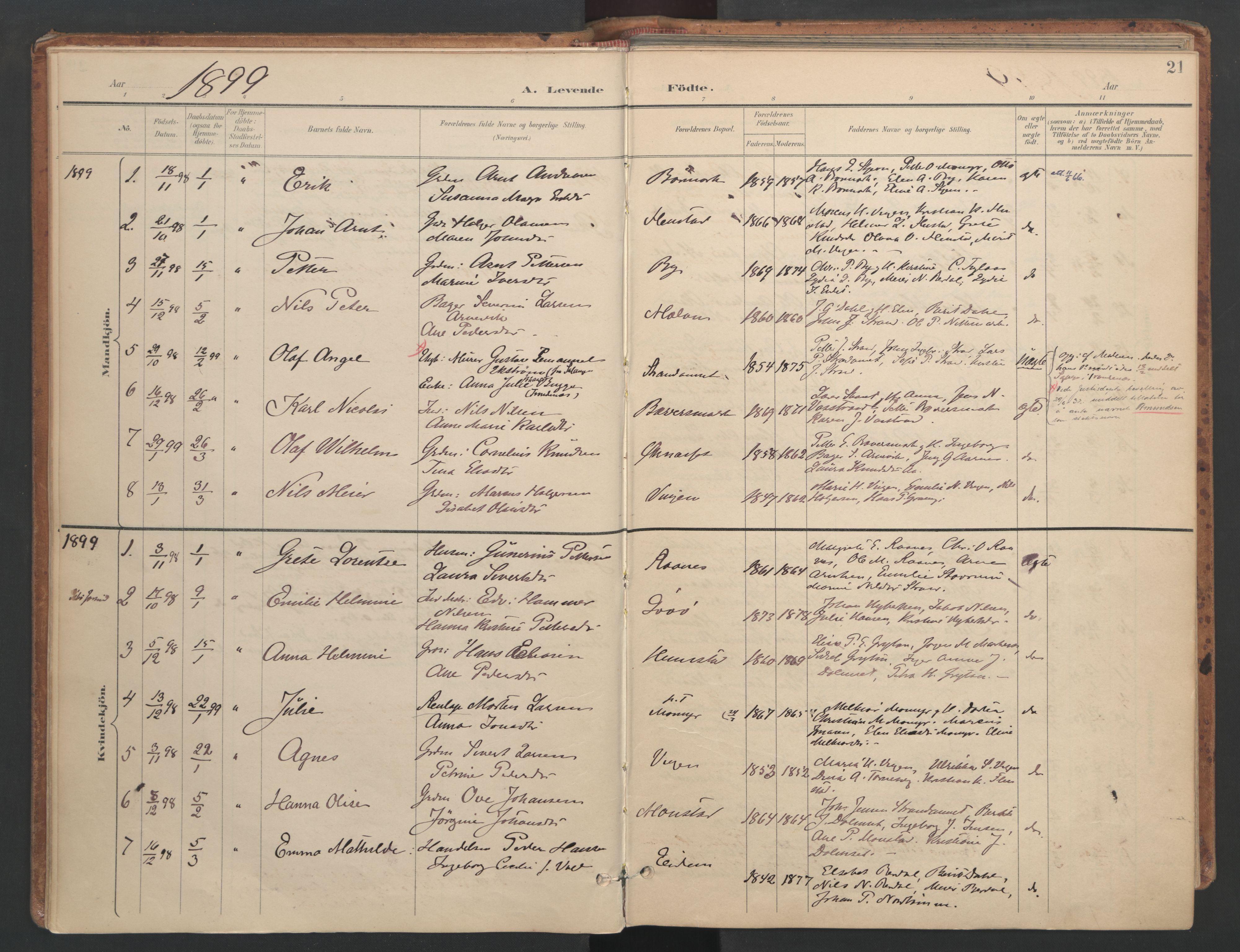 SAT, Ministerialprotokoller, klokkerbøker og fødselsregistre - Sør-Trøndelag, 655/L0681: Ministerialbok nr. 655A10, 1895-1907, s. 21