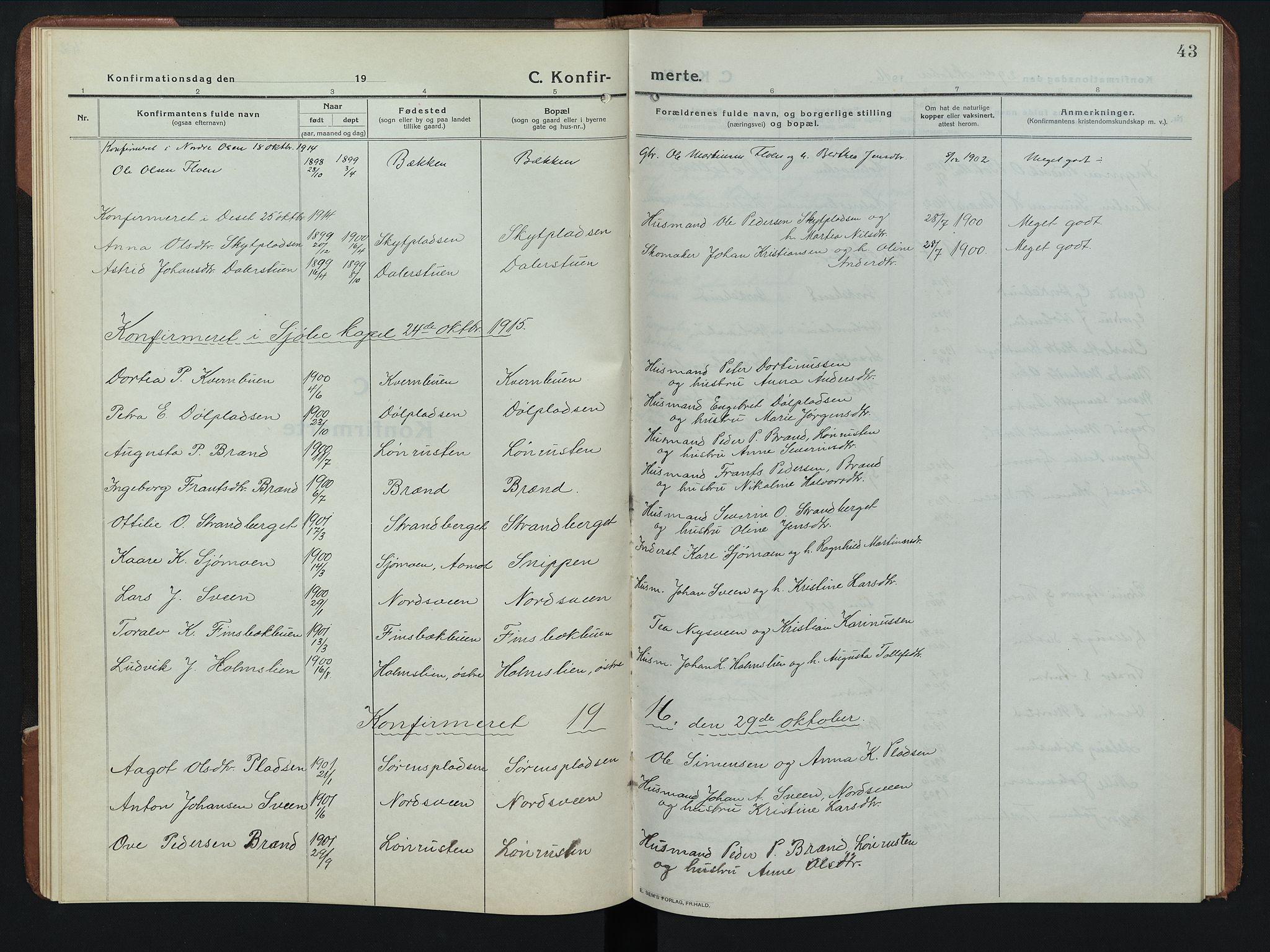 SAH, Rendalen prestekontor, H/Ha/Hab/L0008: Klokkerbok nr. 8, 1914-1948, s. 43