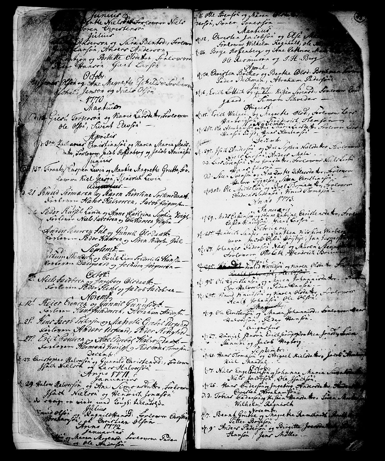 SAKO, Skien kirkebøker, G/Ga/L0001: Klokkerbok nr. 1, 1756-1791, s. 22