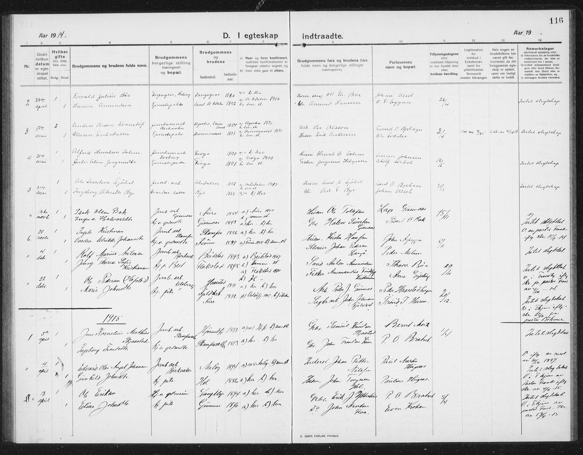 SAT, Ministerialprotokoller, klokkerbøker og fødselsregistre - Sør-Trøndelag, 675/L0888: Klokkerbok nr. 675C01, 1913-1935, s. 116