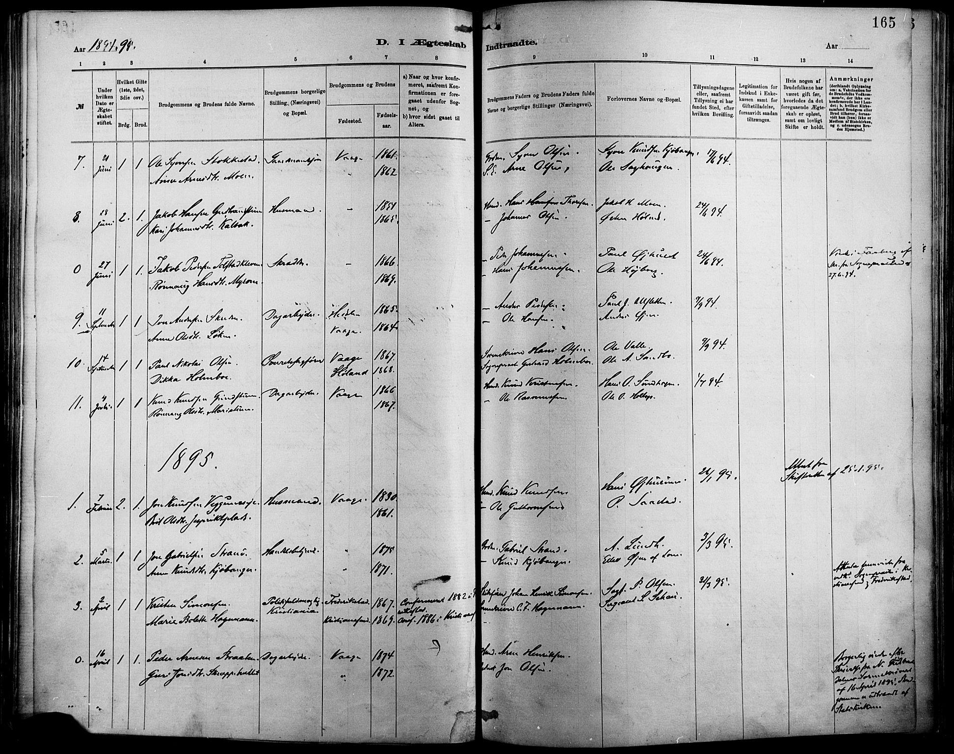 SAH, Vågå prestekontor, Ministerialbok nr. 9, 1886-1904, s. 165