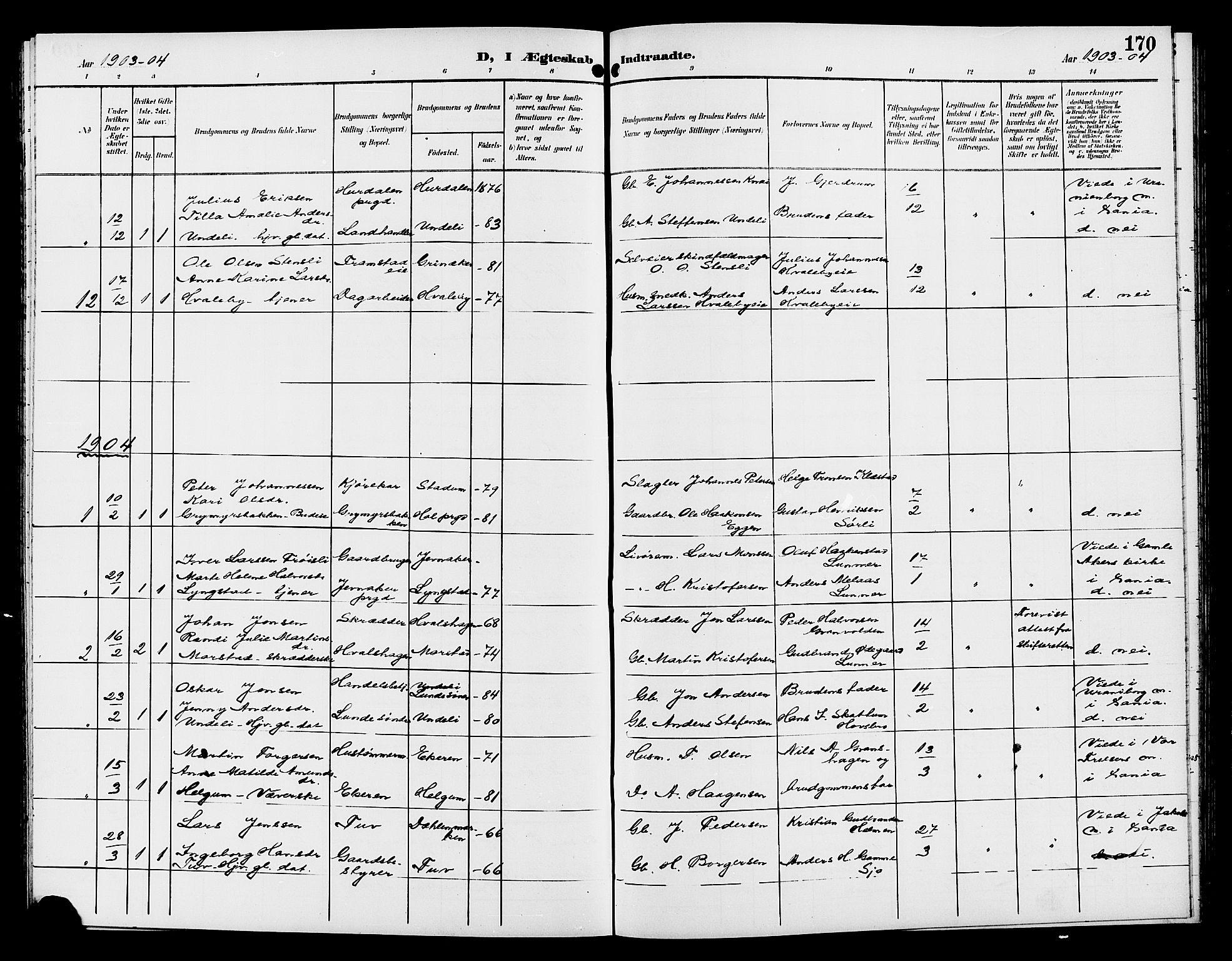 SAH, Gran prestekontor, Klokkerbok nr. 6, 1901-1911, s. 170