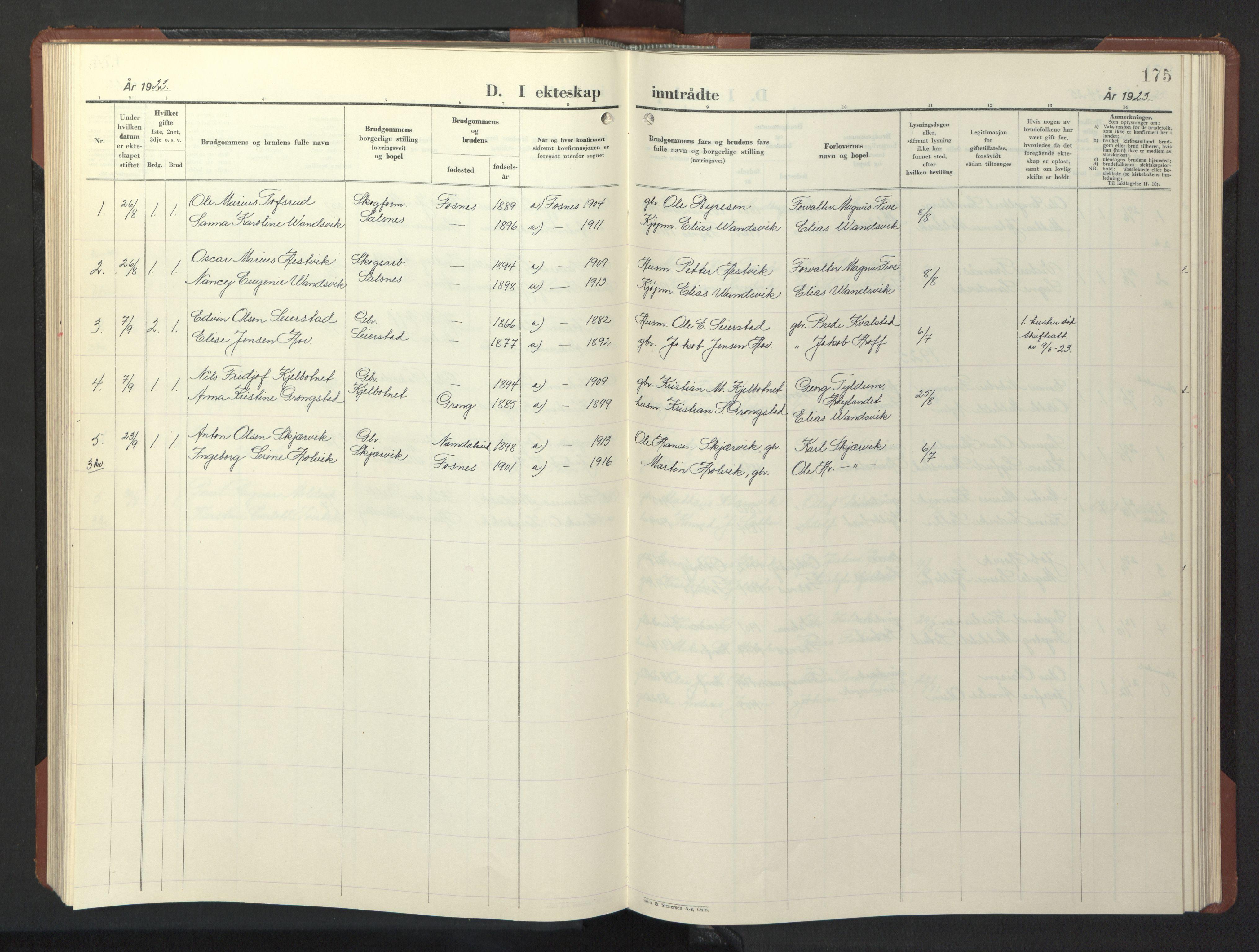 SAT, Ministerialprotokoller, klokkerbøker og fødselsregistre - Nord-Trøndelag, 773/L0625: Klokkerbok nr. 773C01, 1910-1952, s. 175