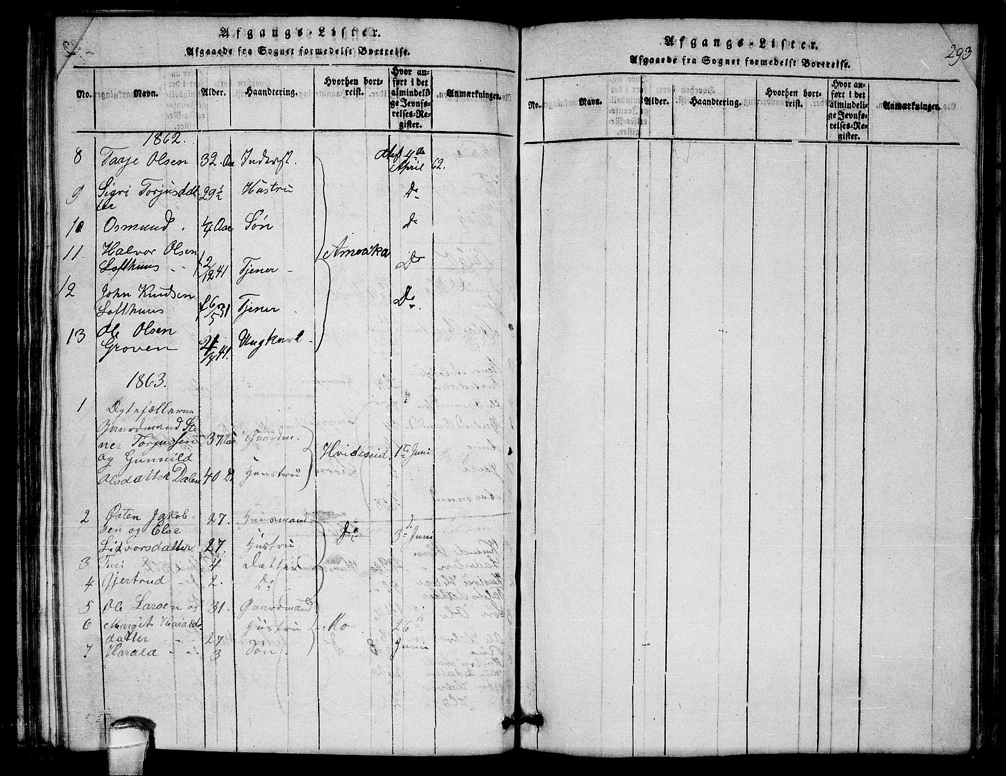 SAKO, Lårdal kirkebøker, G/Gb/L0001: Klokkerbok nr. II 1, 1815-1865, s. 293