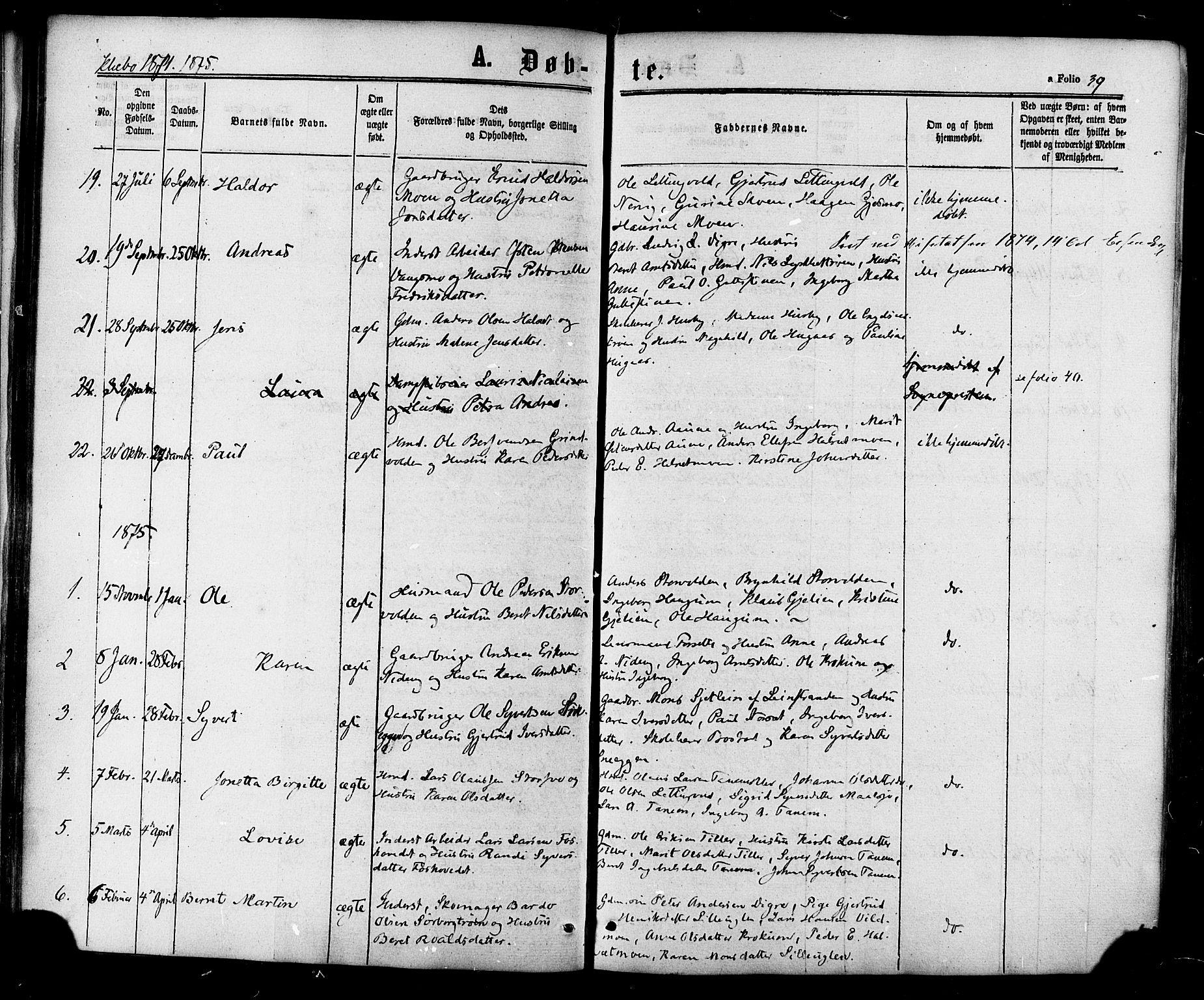 SAT, Ministerialprotokoller, klokkerbøker og fødselsregistre - Sør-Trøndelag, 618/L0442: Ministerialbok nr. 618A06 /1, 1863-1879, s. 39