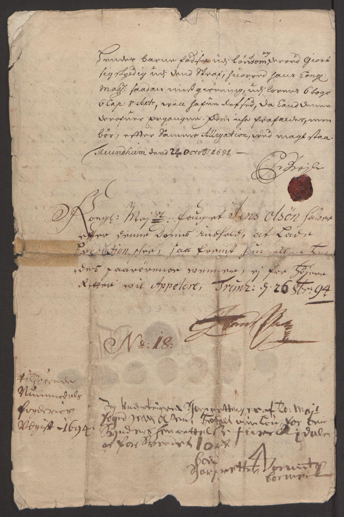 RA, Rentekammeret inntil 1814, Reviderte regnskaper, Fogderegnskap, R64/L4424: Fogderegnskap Namdal, 1692-1695, s. 449