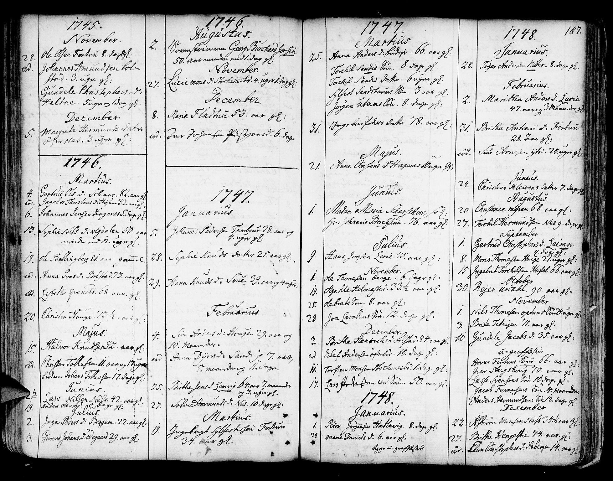 SAB, Luster Sokneprestembete, Ministerialbok nr. A 1, 1731-1803, s. 187