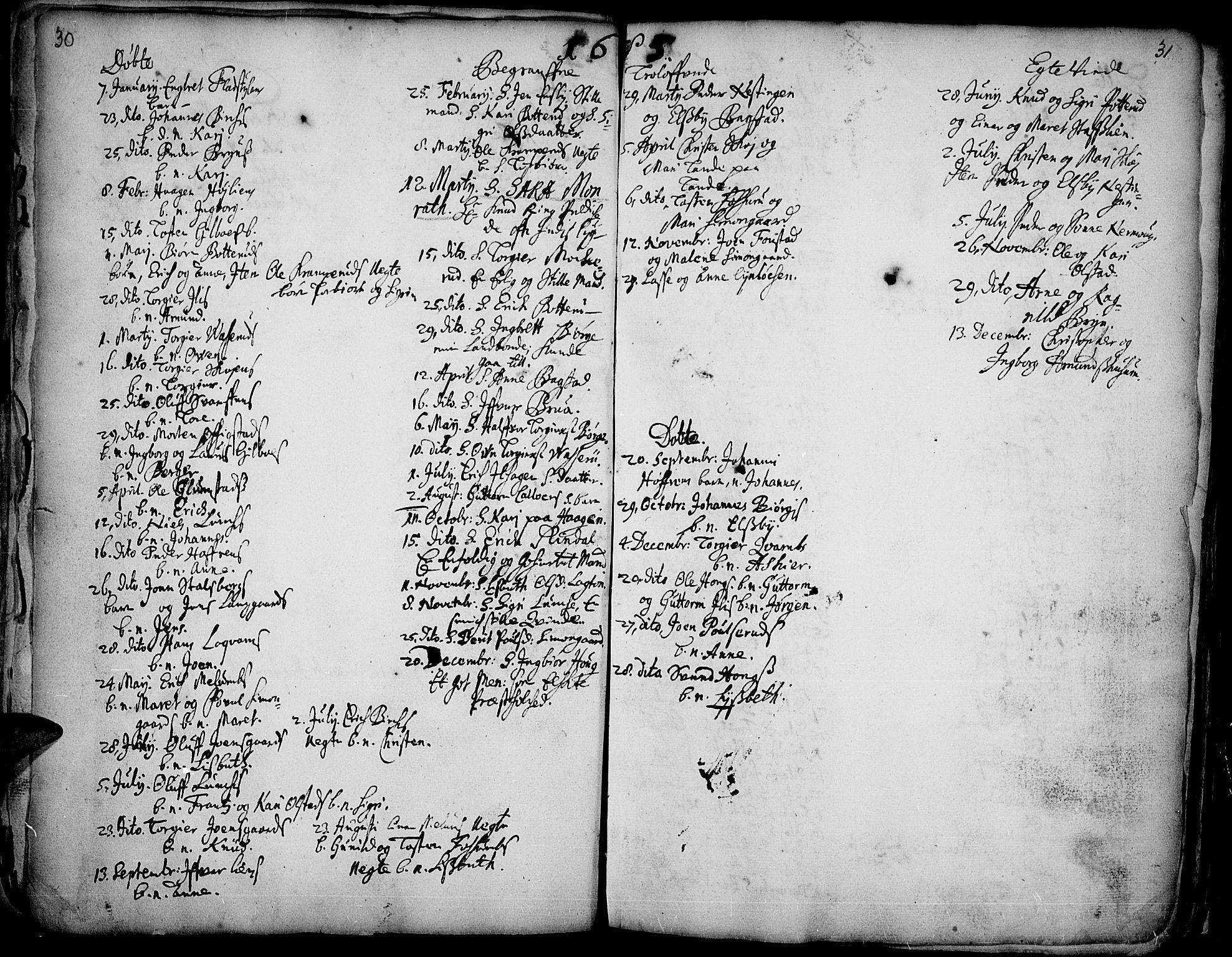 SAH, Øyer prestekontor, Ministerialbok nr. 1, 1671-1727, s. 30-31