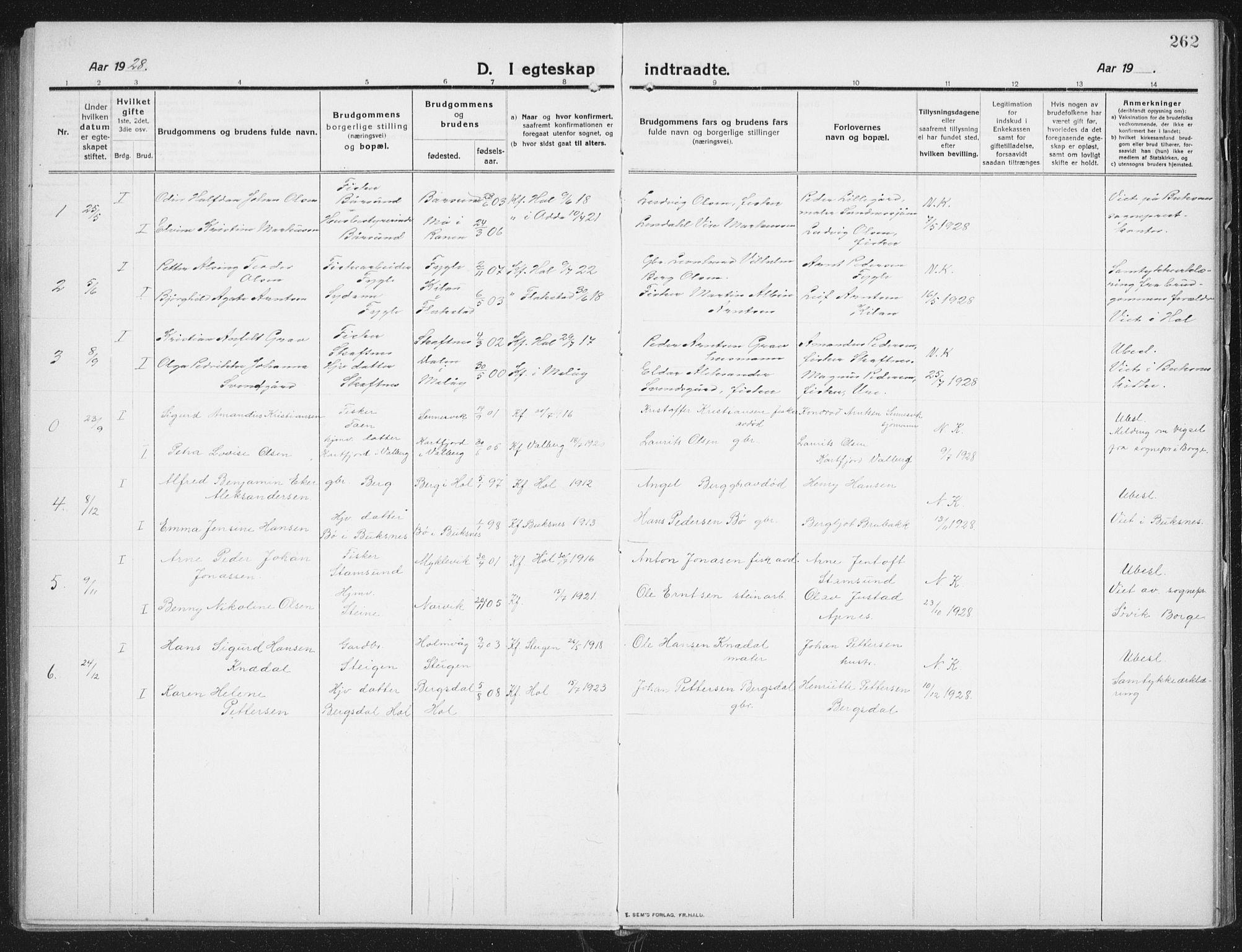 SAT, Ministerialprotokoller, klokkerbøker og fødselsregistre - Nordland, 882/L1183: Klokkerbok nr. 882C01, 1911-1938, s. 262