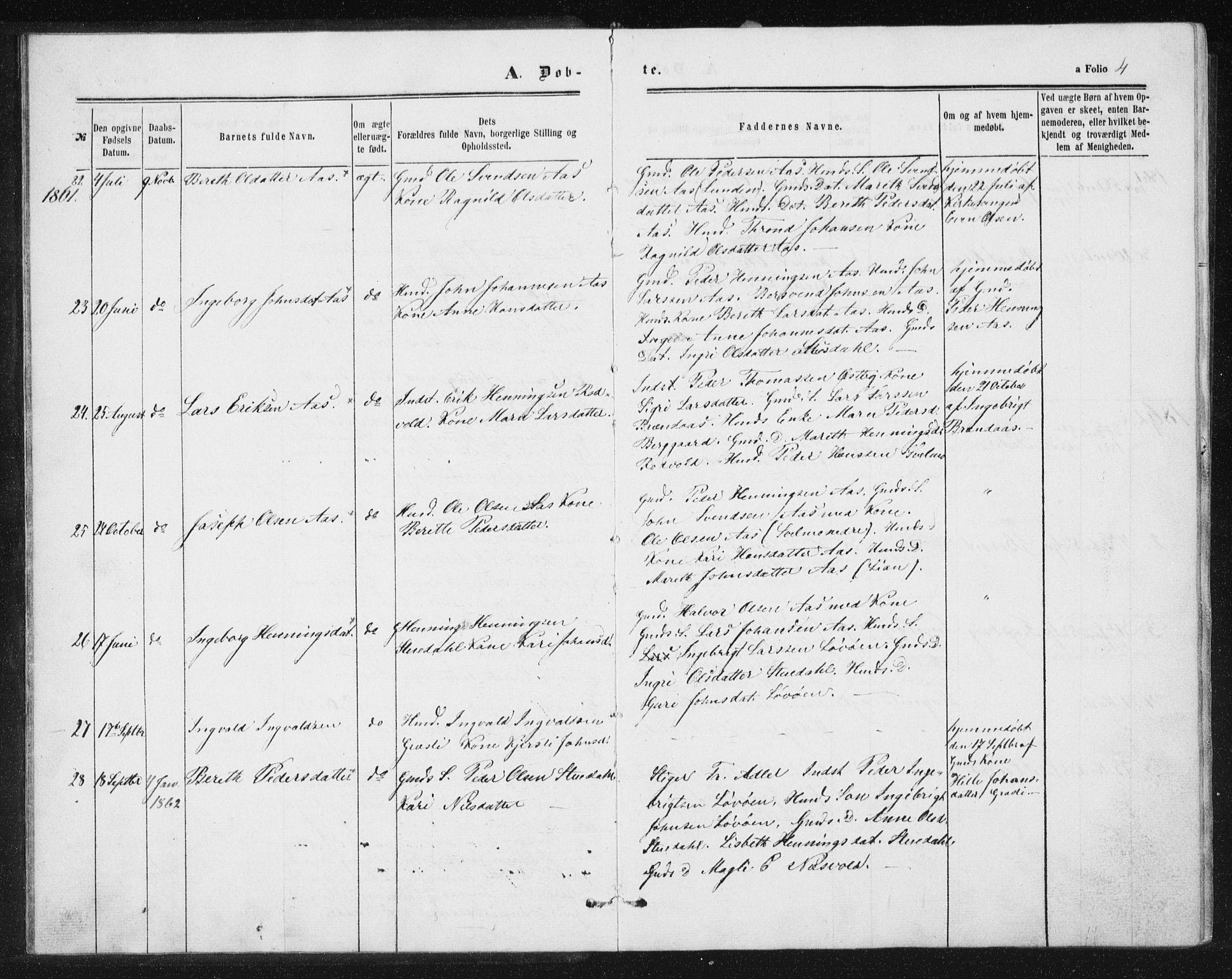 SAT, Ministerialprotokoller, klokkerbøker og fødselsregistre - Sør-Trøndelag, 698/L1166: Klokkerbok nr. 698C03, 1861-1887, s. 4