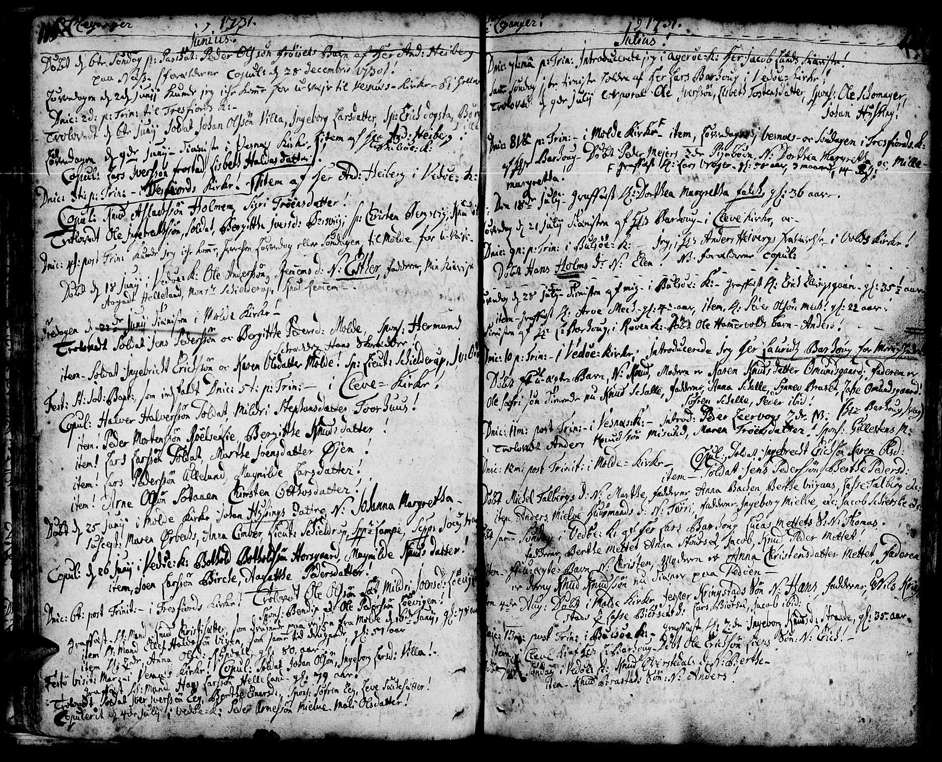 SAT, Ministerialprotokoller, klokkerbøker og fødselsregistre - Møre og Romsdal, 547/L0599: Ministerialbok nr. 547A01, 1721-1764, s. 120-121