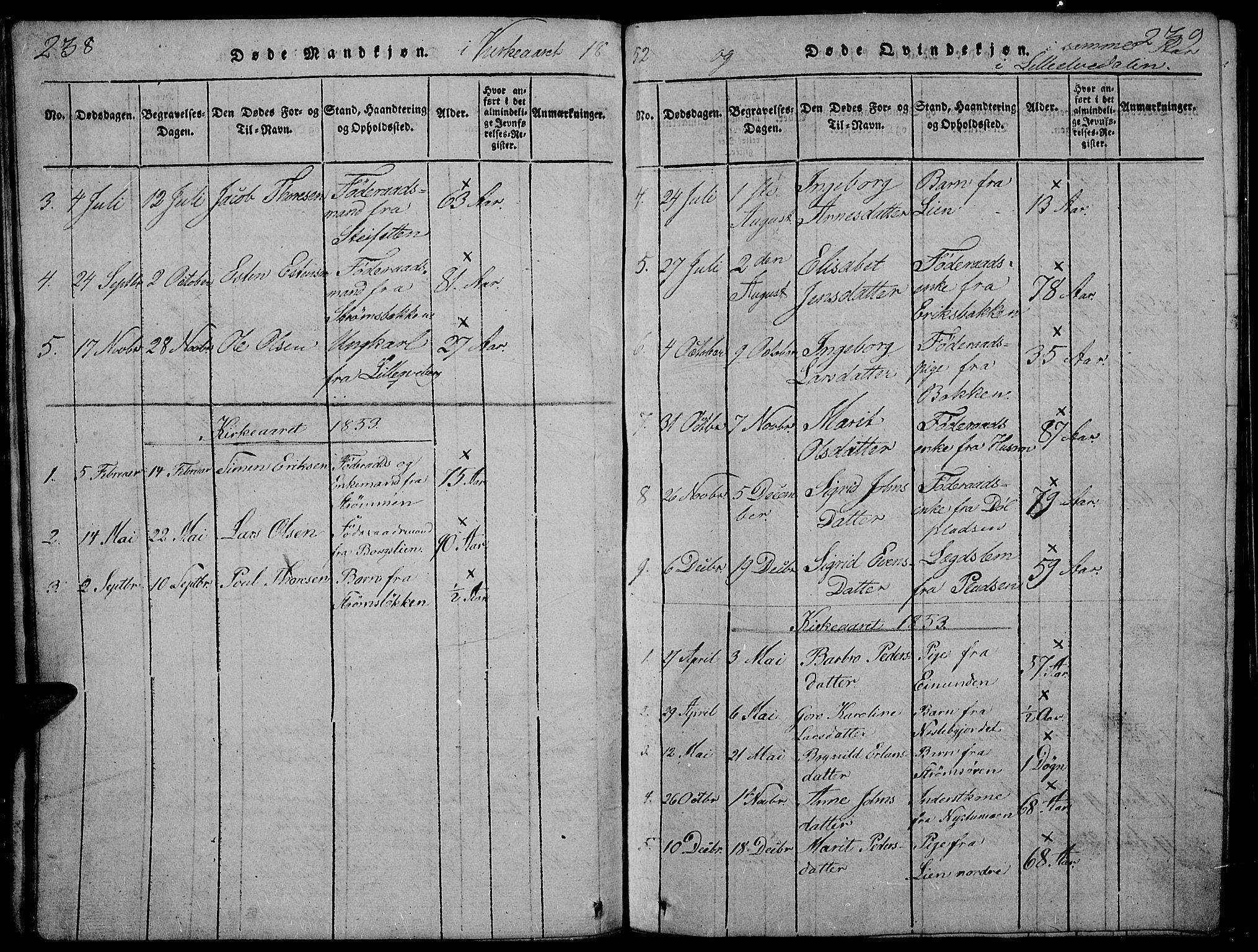 SAH, Tynset prestekontor, Klokkerbok nr. 2, 1814-1862, s. 238-239