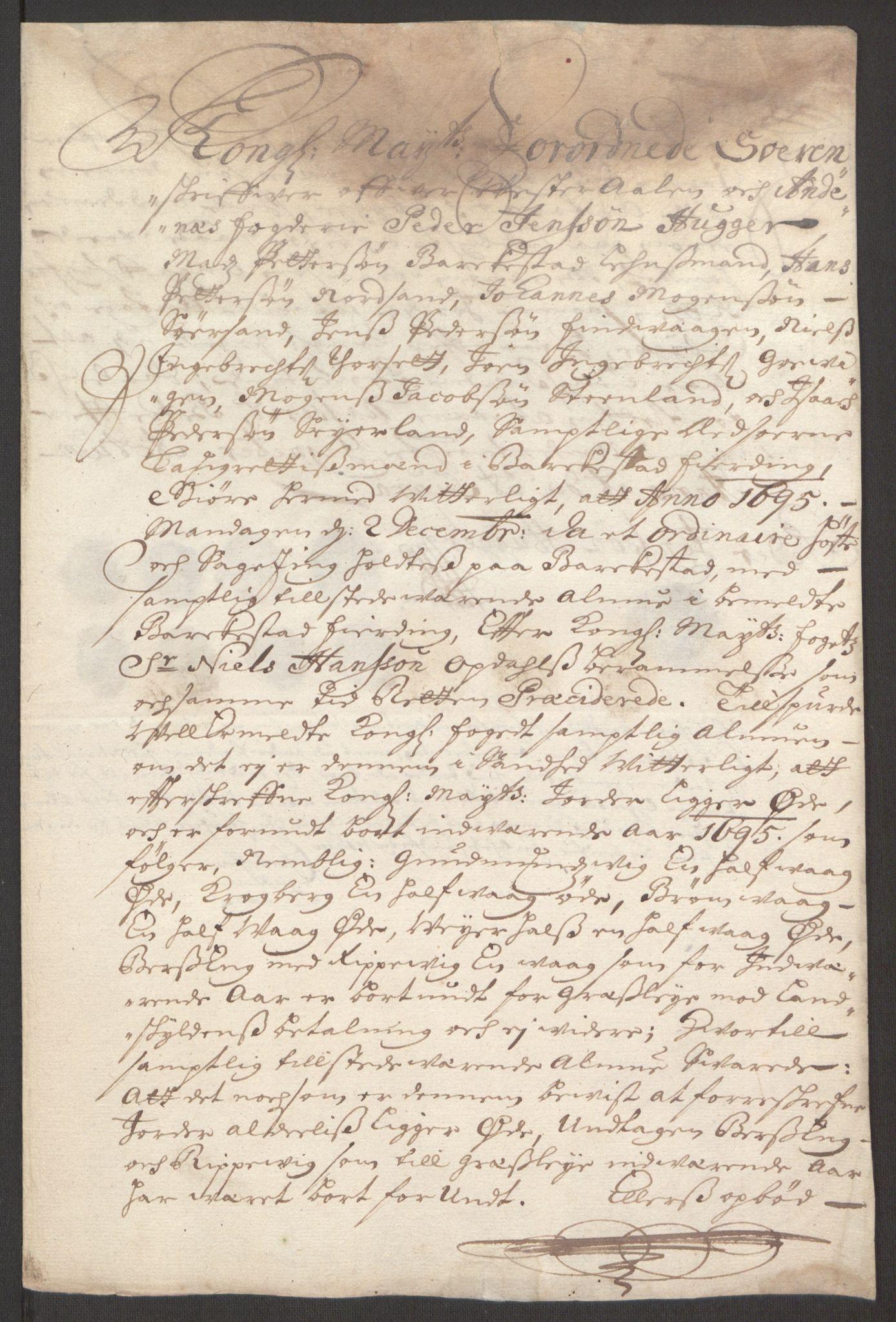 RA, Rentekammeret inntil 1814, Reviderte regnskaper, Fogderegnskap, R67/L4677: Fogderegnskap Vesterålen, Andenes og Lofoten, 1694-1695, s. 325