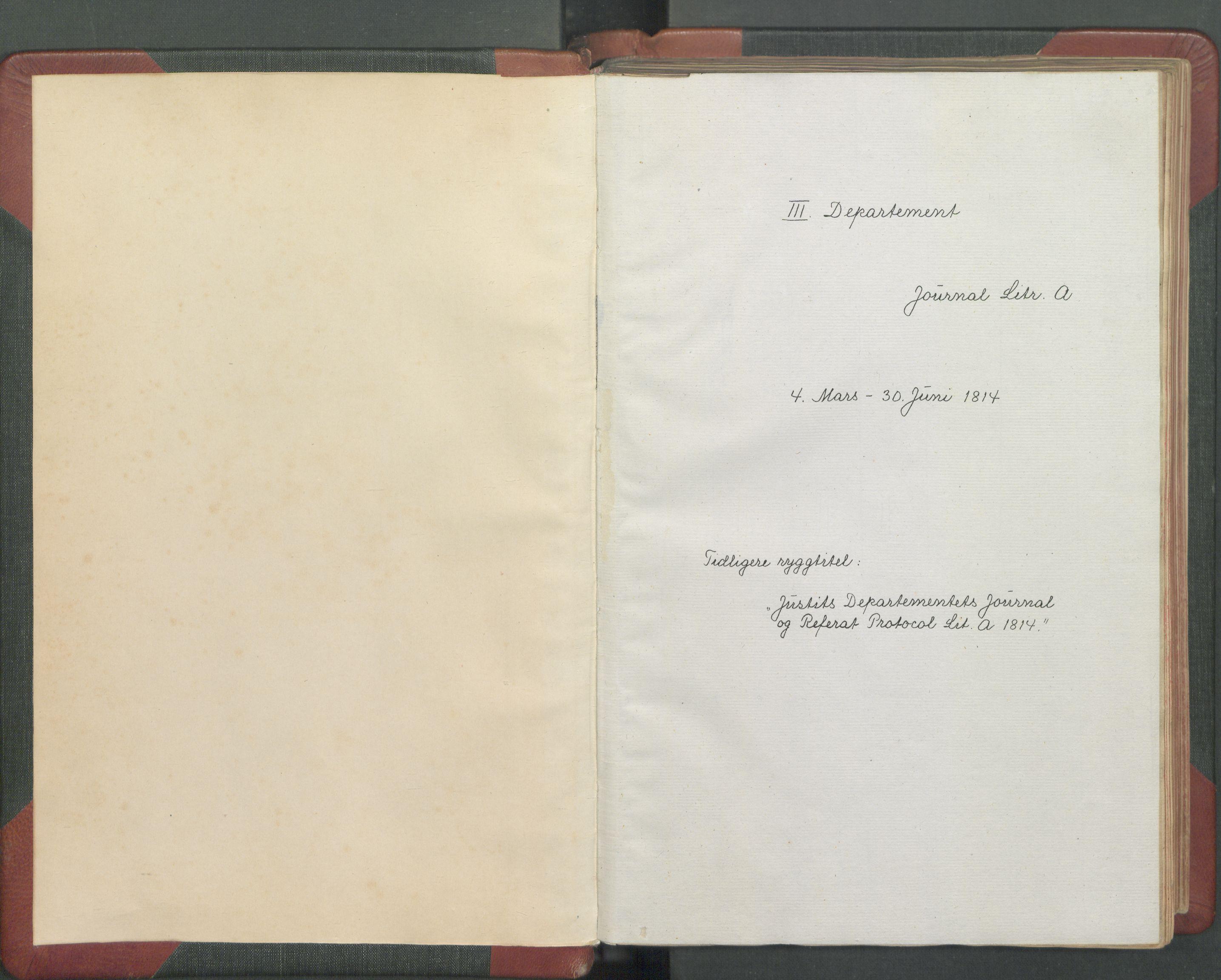 RA, Departementene i 1814, Fc/L0039: Journal A, 1814, s. 3