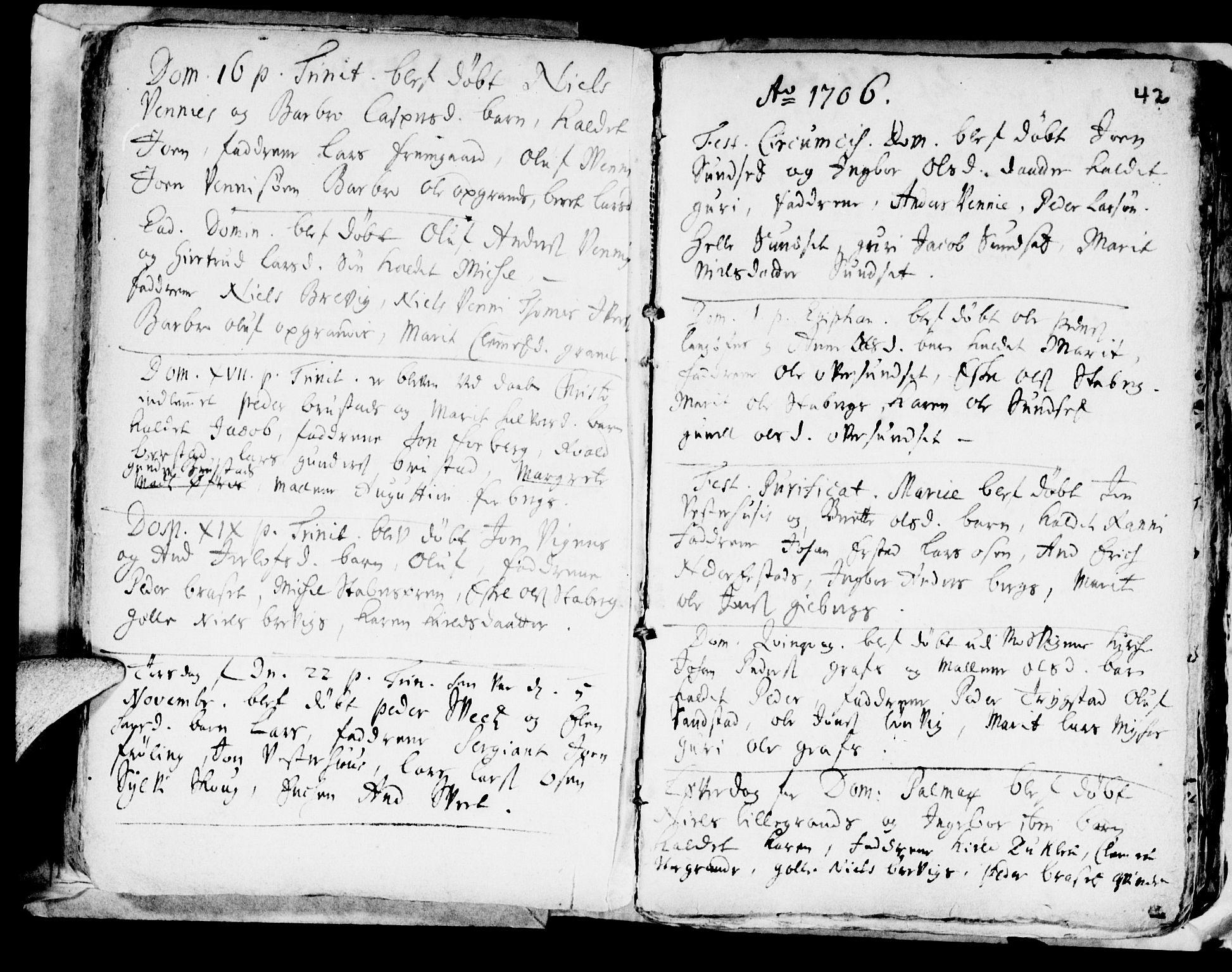 SAT, Ministerialprotokoller, klokkerbøker og fødselsregistre - Nord-Trøndelag, 722/L0214: Ministerialbok nr. 722A01, 1692-1718, s. 42