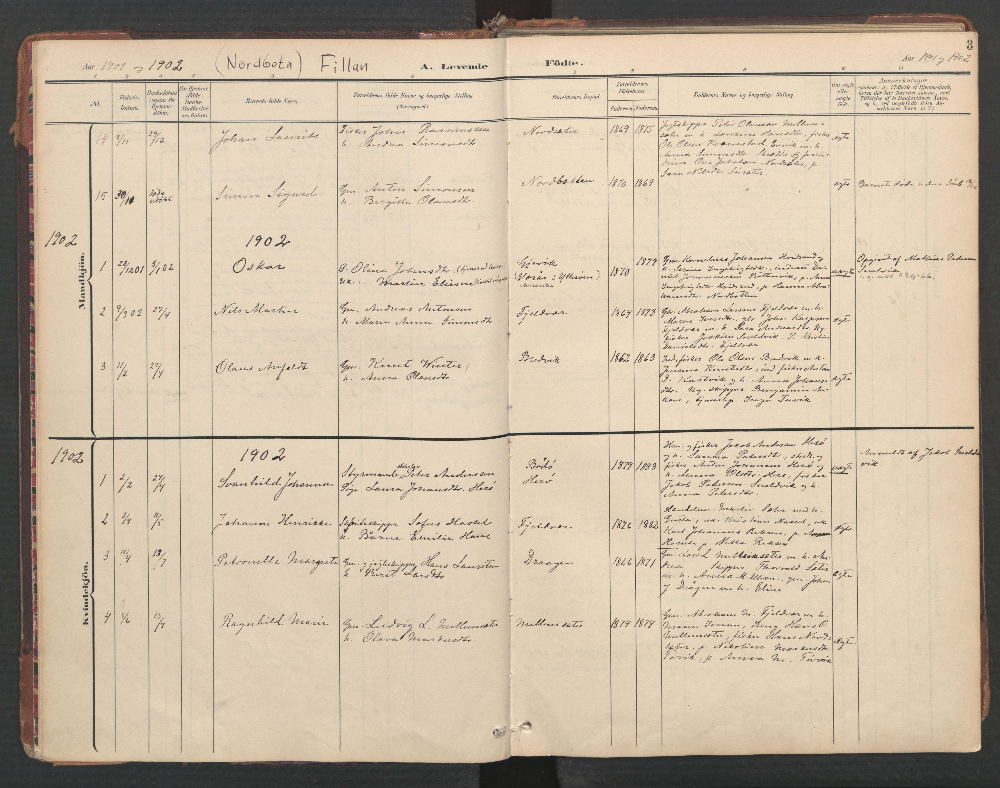 SAT, Ministerialprotokoller, klokkerbøker og fødselsregistre - Sør-Trøndelag, 638/L0568: Ministerialbok nr. 638A01, 1901-1916, s. 3