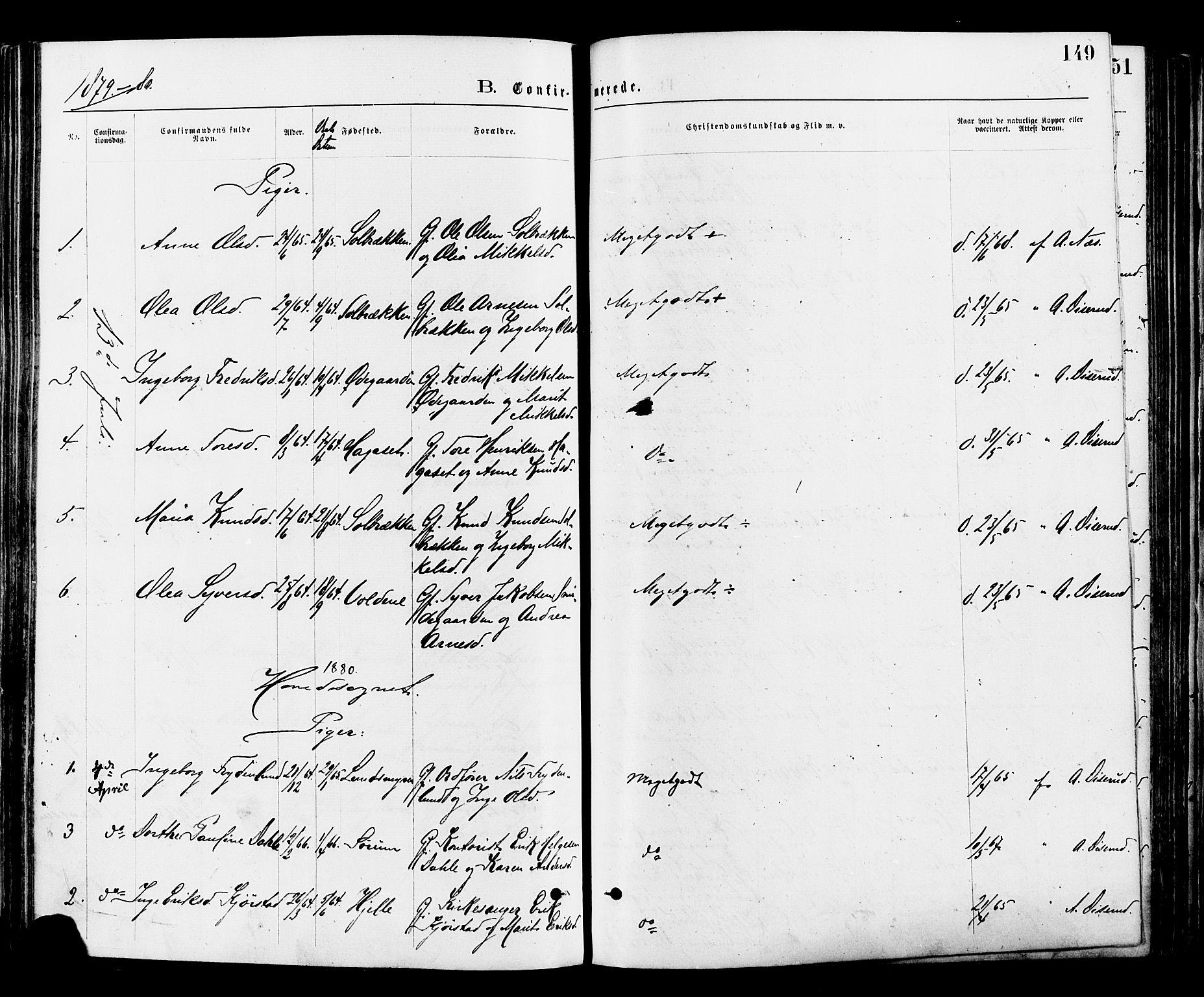SAH, Nord-Aurdal prestekontor, Ministerialbok nr. 9, 1876-1882, s. 149