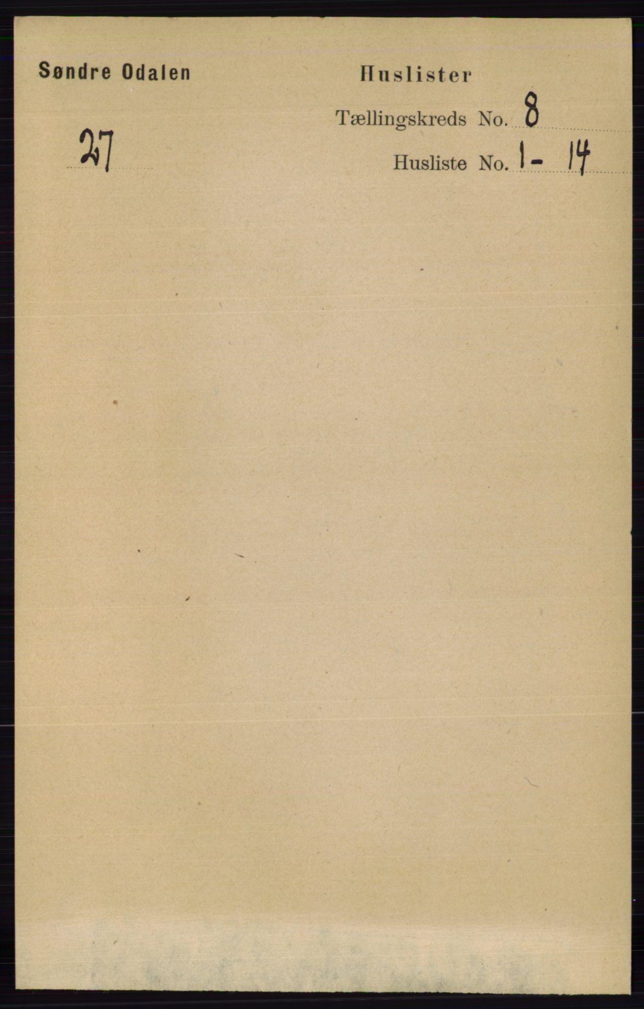 RA, Folketelling 1891 for 0419 Sør-Odal herred, 1891, s. 3960