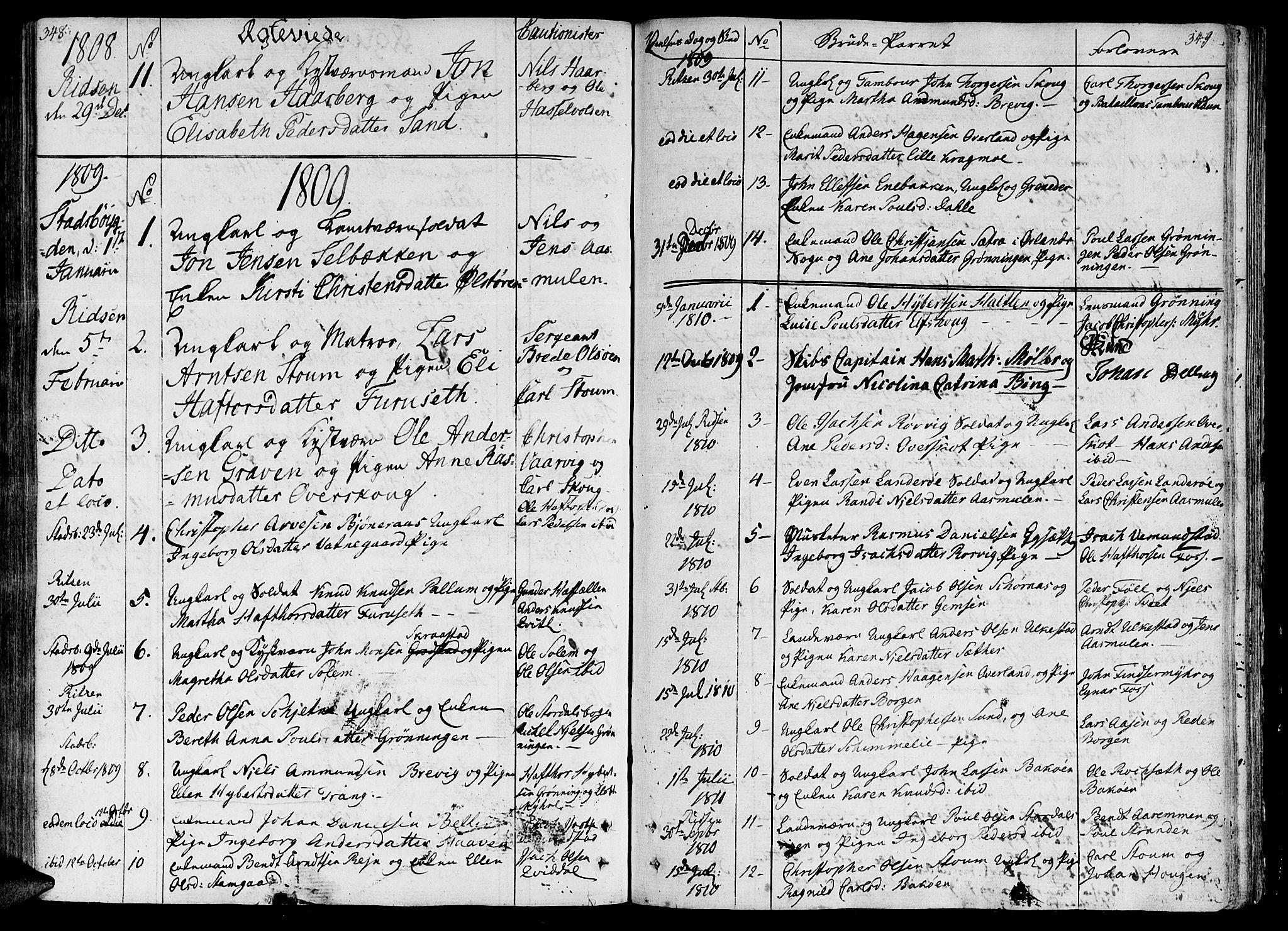 SAT, Ministerialprotokoller, klokkerbøker og fødselsregistre - Sør-Trøndelag, 646/L0607: Ministerialbok nr. 646A05, 1806-1815, s. 348-349