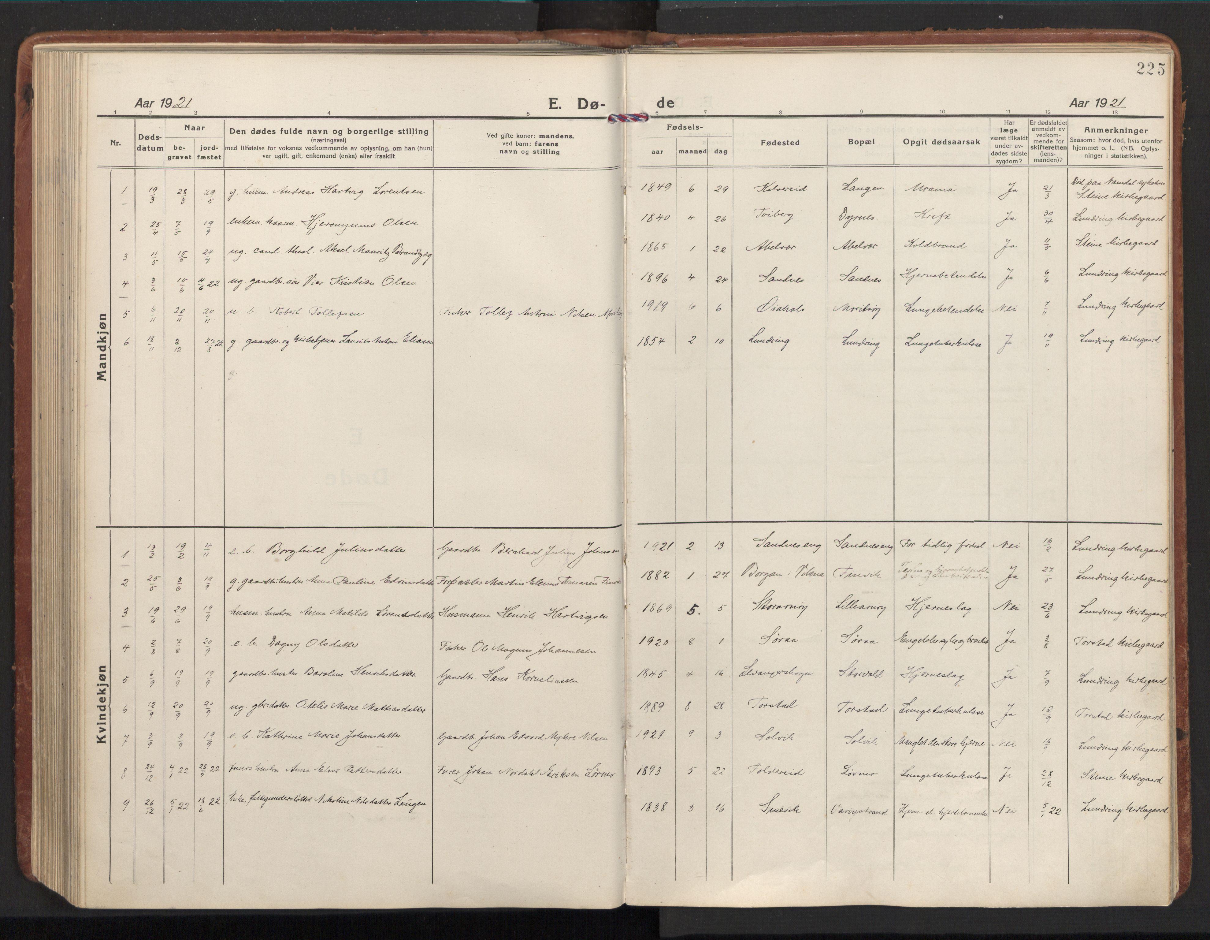 SAT, Ministerialprotokoller, klokkerbøker og fødselsregistre - Nord-Trøndelag, 784/L0678: Ministerialbok nr. 784A13, 1921-1938, s. 225