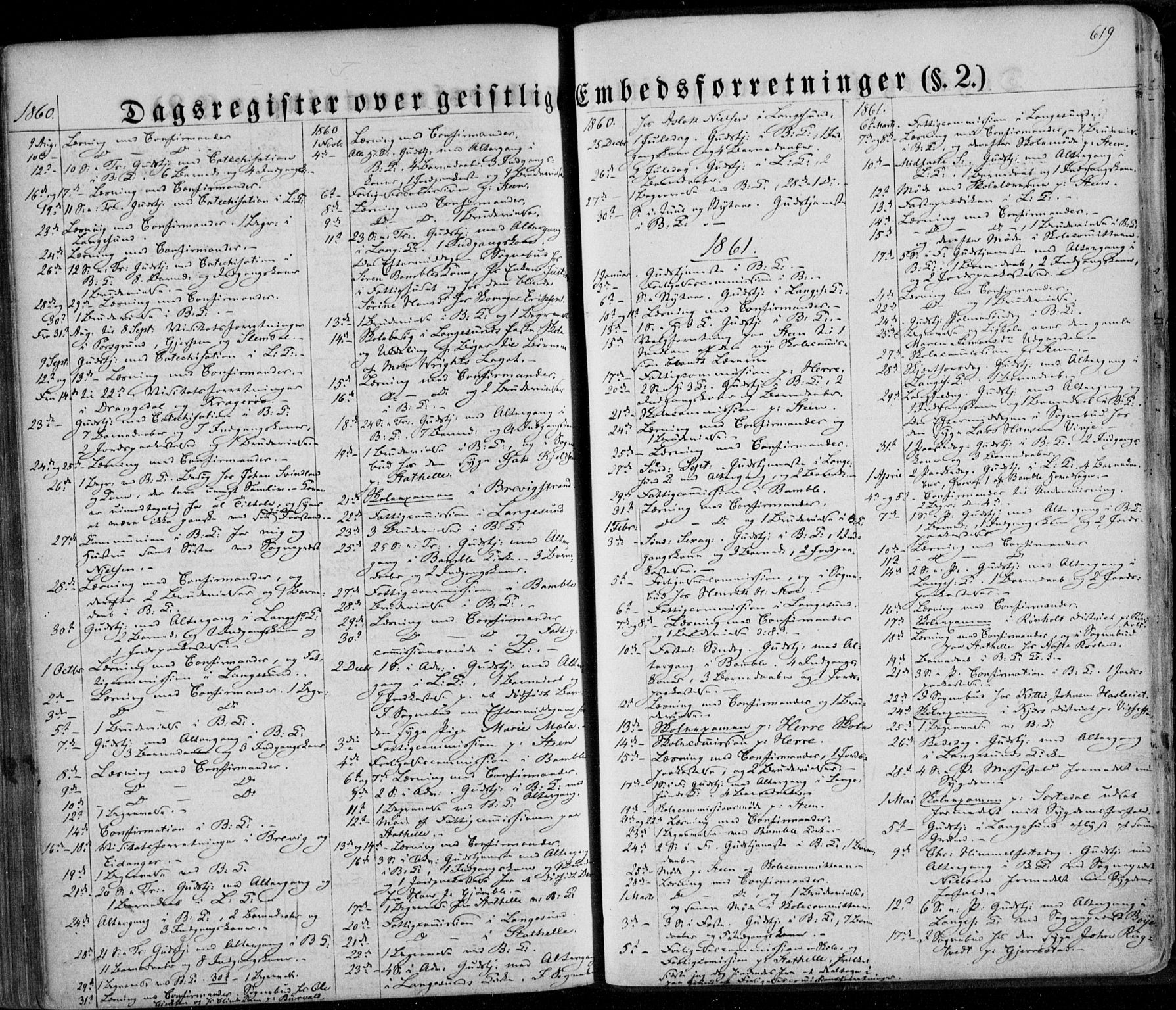 SAKO, Bamble kirkebøker, F/Fa/L0005: Ministerialbok nr. I 5, 1854-1869, s. 619