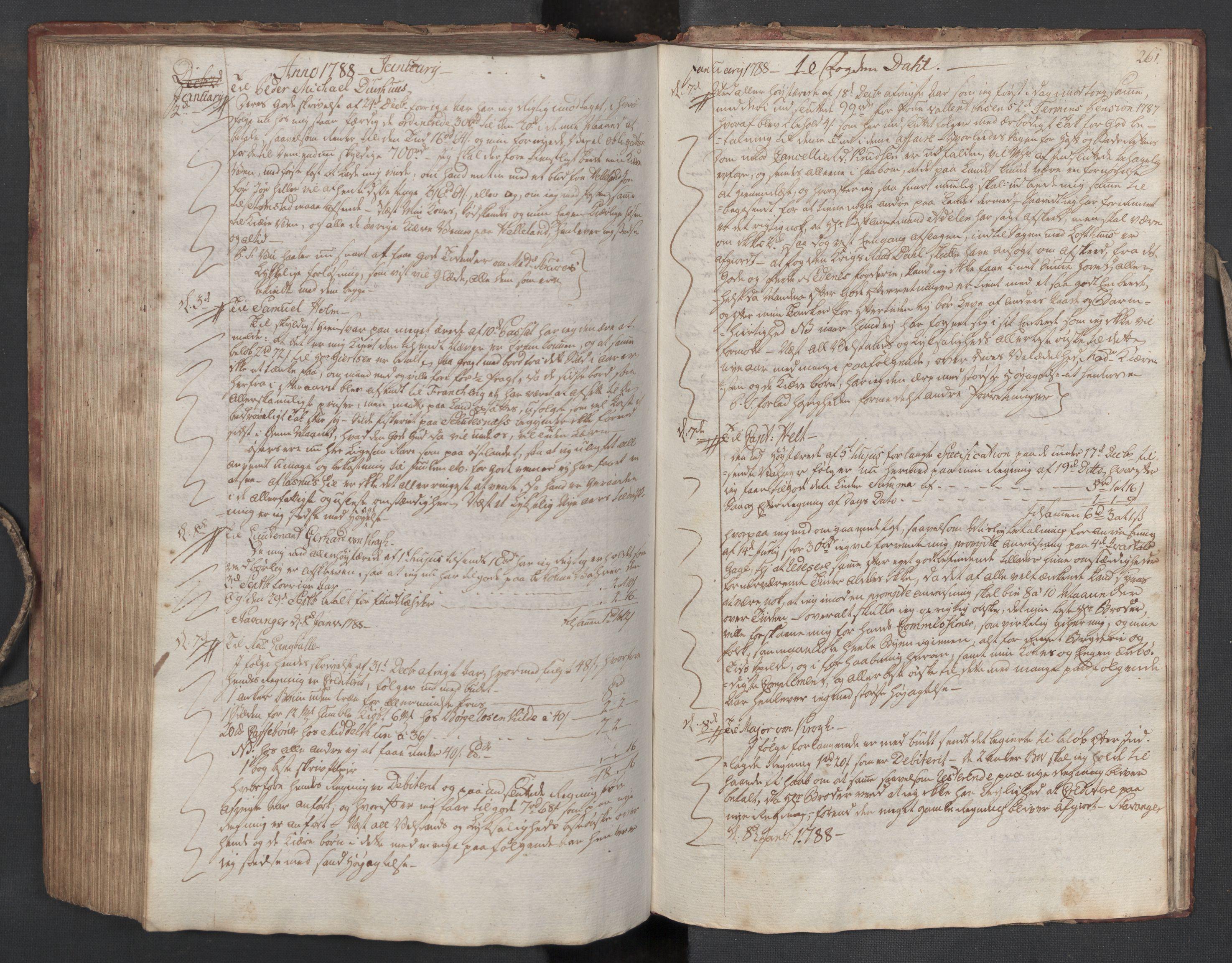 SAST, Pa 0003 - Ploug & Sundt, handelshuset, B/L0005: Kopibok, 1784-1788, s. 260b-261a