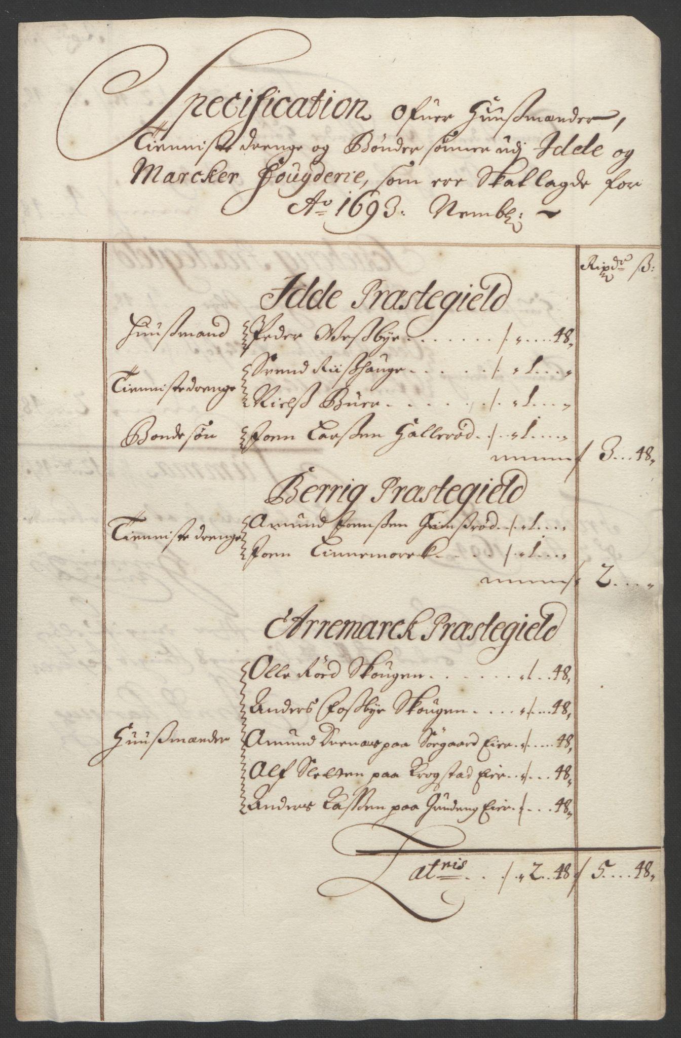 RA, Rentekammeret inntil 1814, Reviderte regnskaper, Fogderegnskap, R01/L0011: Fogderegnskap Idd og Marker, 1692-1693, s. 285