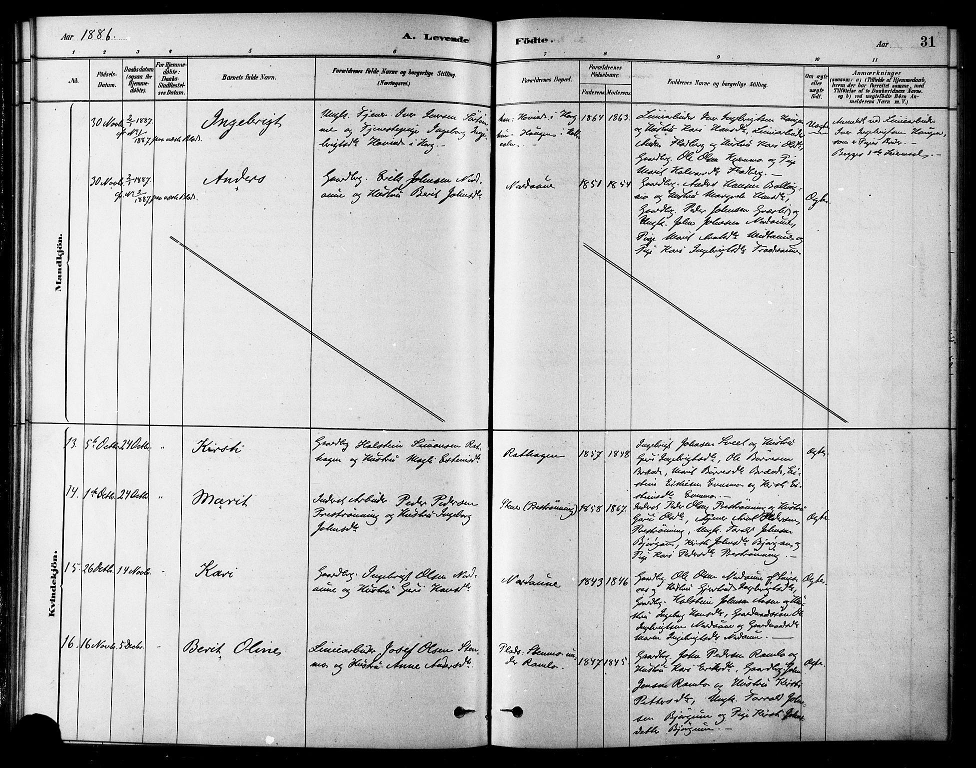 SAT, Ministerialprotokoller, klokkerbøker og fødselsregistre - Sør-Trøndelag, 685/L0972: Ministerialbok nr. 685A09, 1879-1890, s. 31