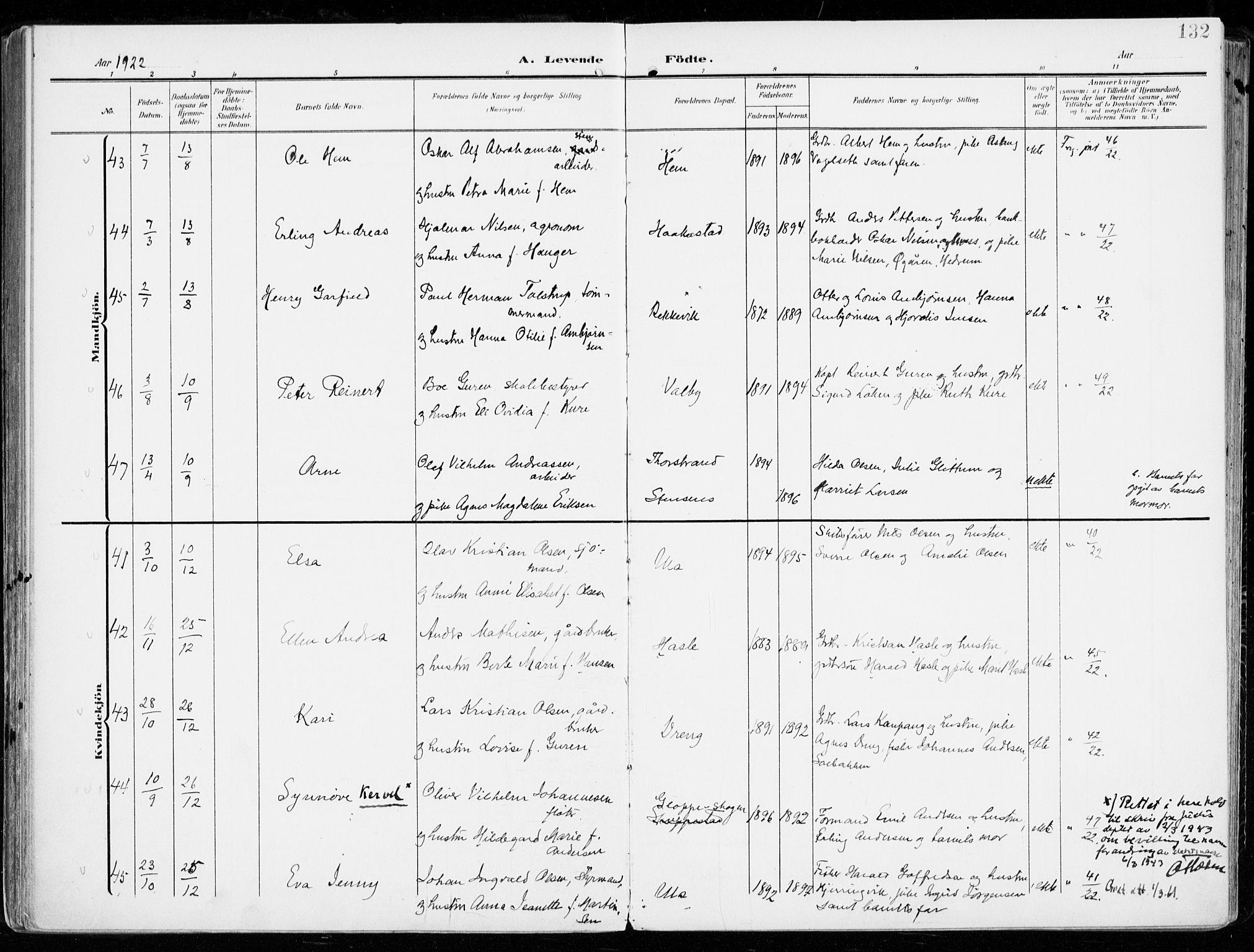 SAKO, Tjølling kirkebøker, F/Fa/L0010: Ministerialbok nr. 10, 1906-1923, s. 132